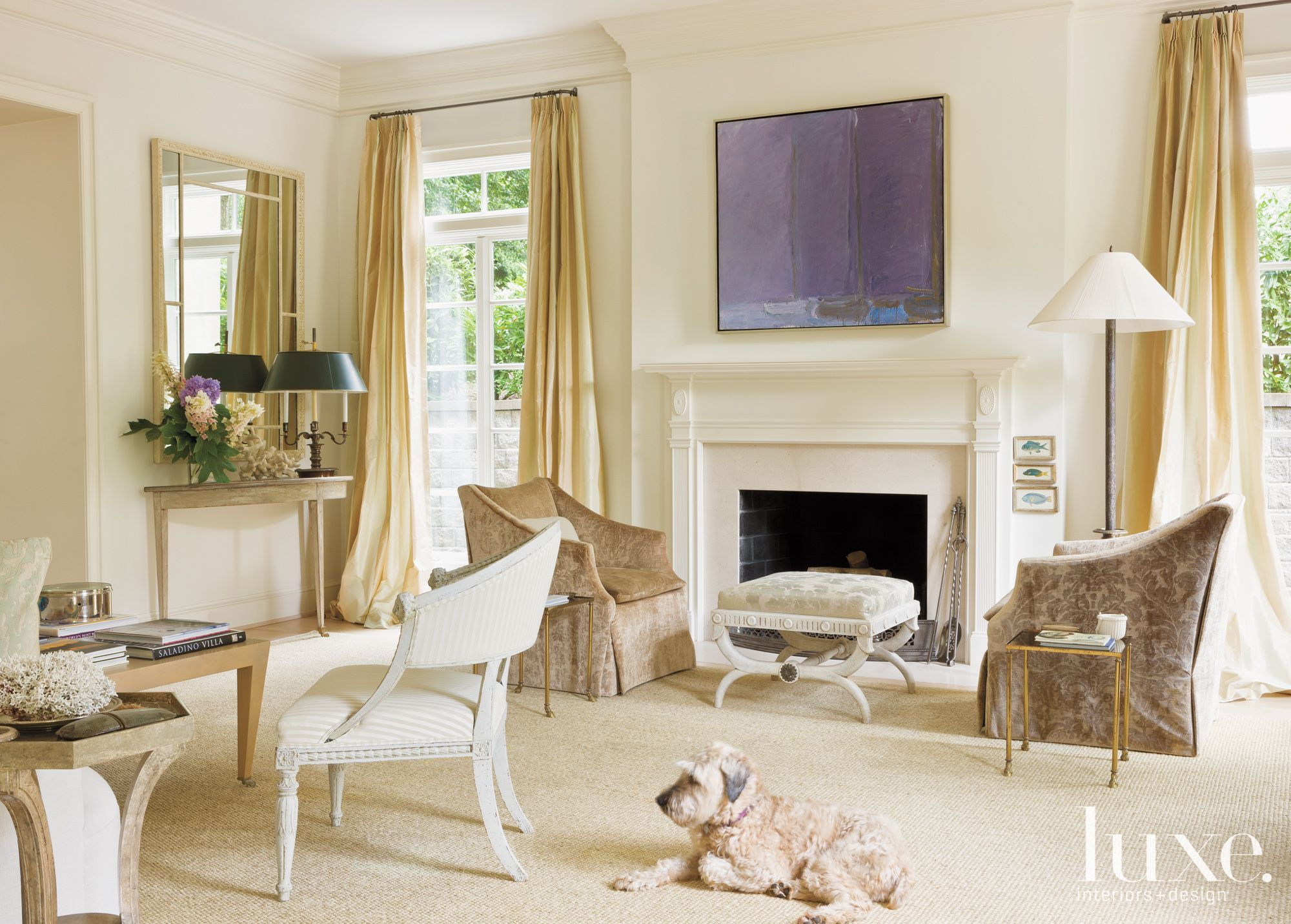 Traditional Cream Living Room with Fireplace | Luxe ...