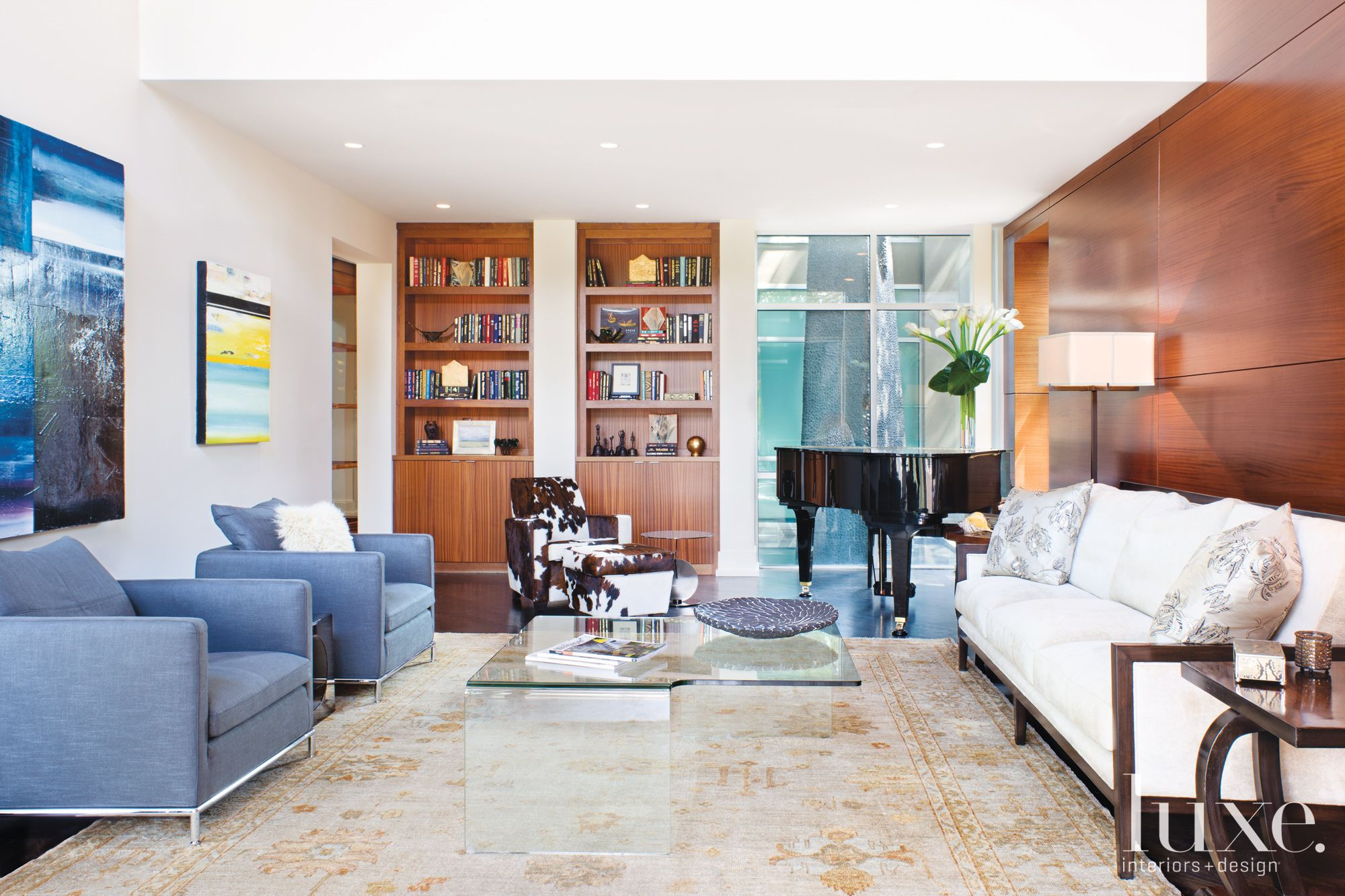 Modern White Living Room with Piano