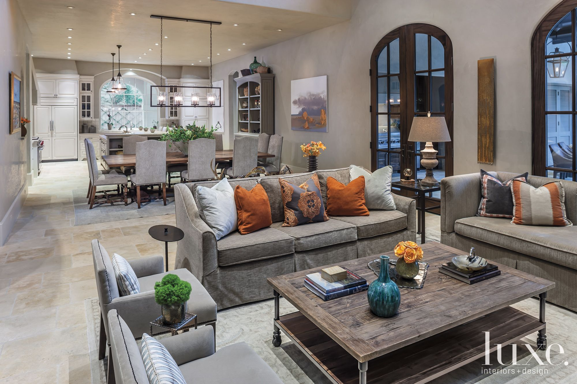 Transitional Gray Family Room