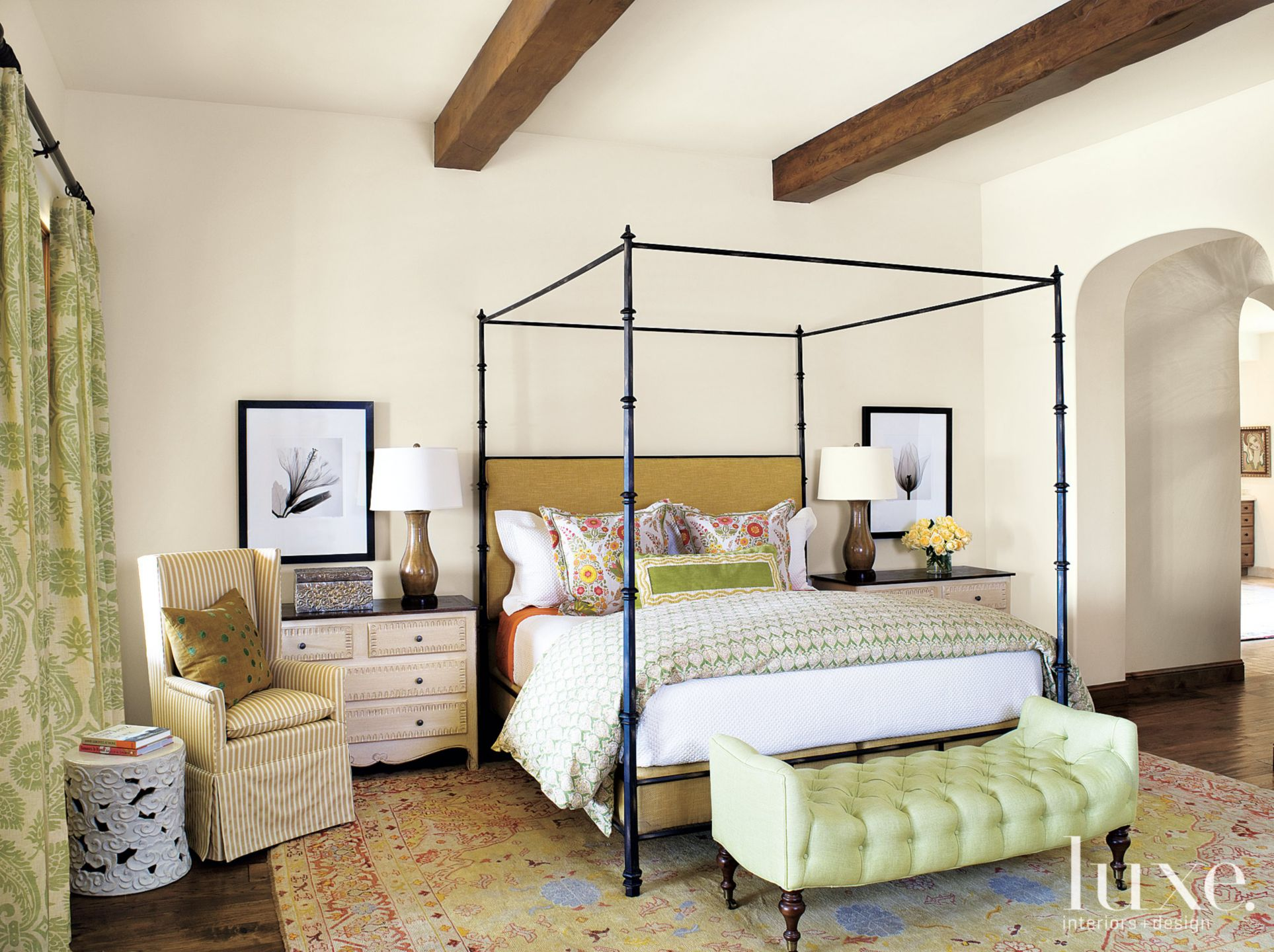 Eclectic White Bedroom with Tufted Green Bench