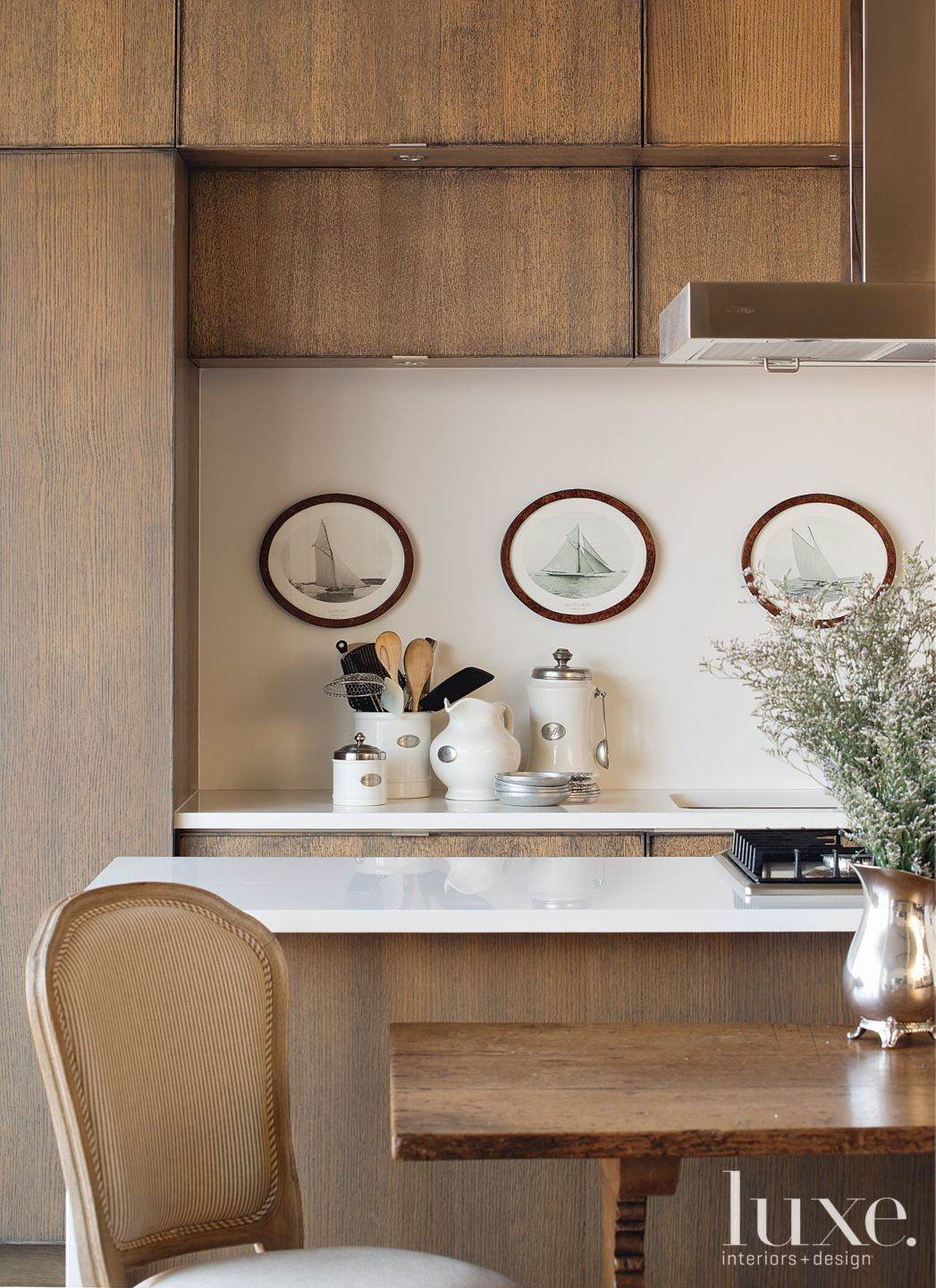 Contemporary Neutral Kitchen with Narrow Island