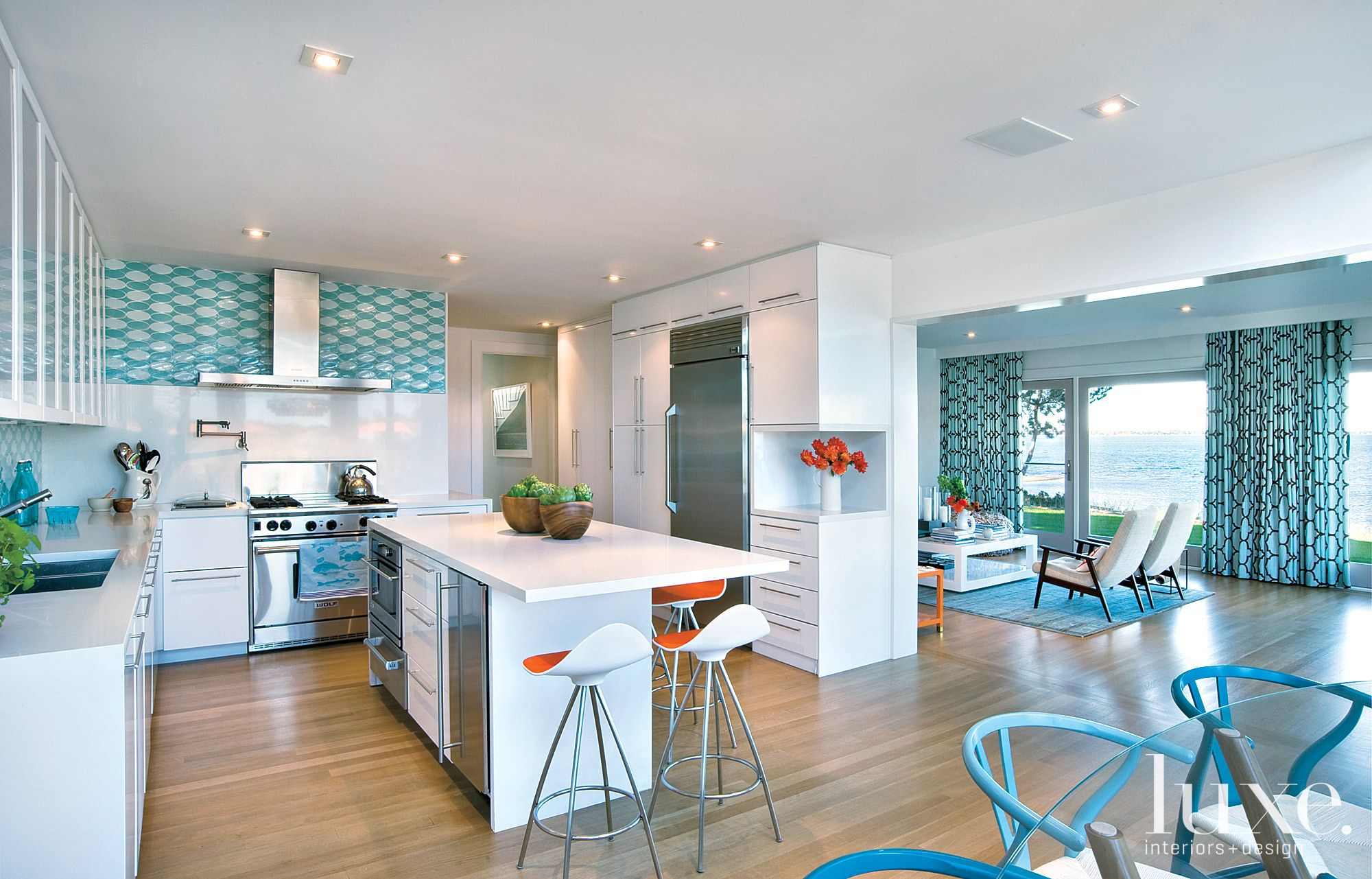Modern White Kitchen With Blue Accents Luxe Interiors Design