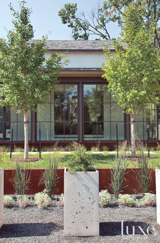 Concrete Planters in Courtyard Vignette