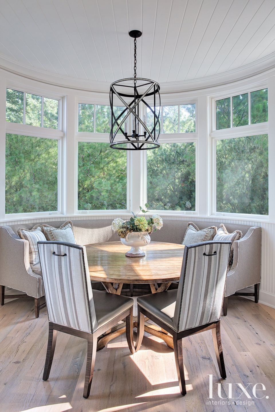 Contemporary Breakfast Area with Geometric Pendant