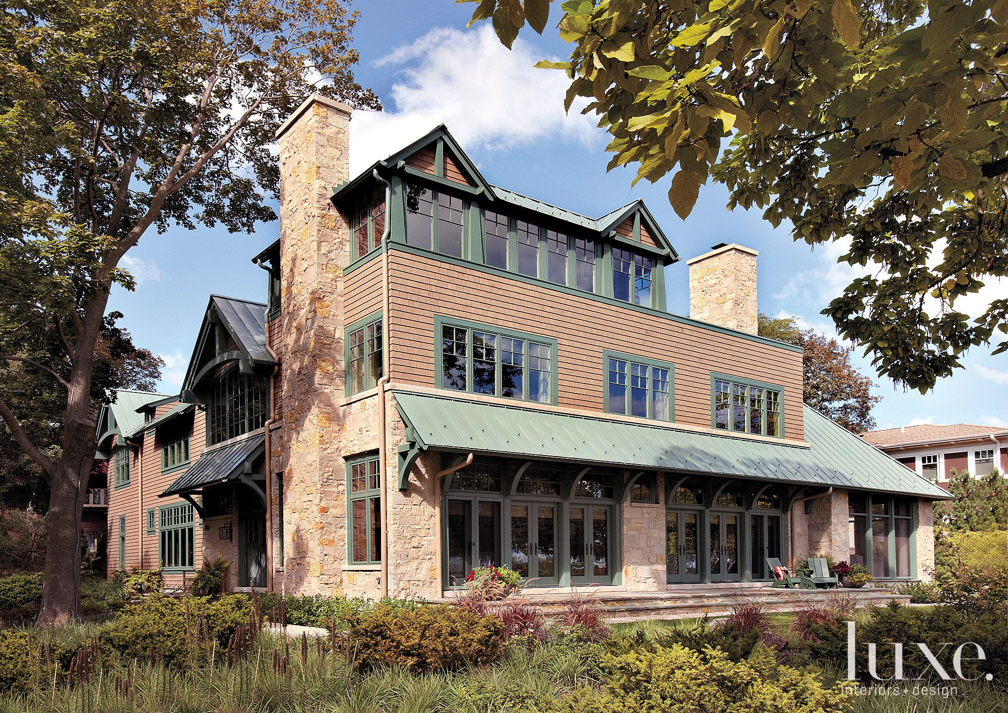 Traditional Neutral Exterior with Green Accents