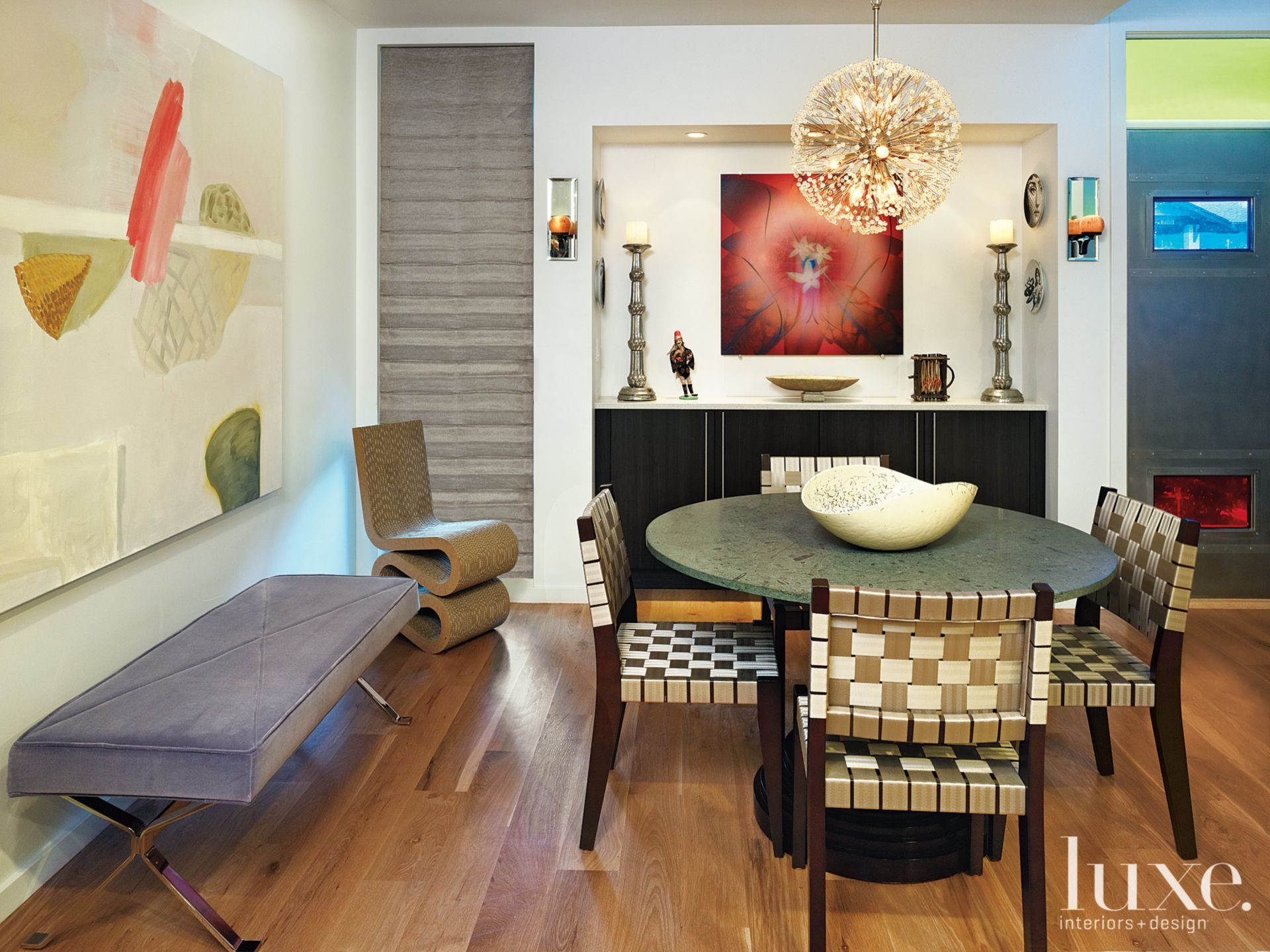 Eclectic Dining Room With Built-in Cabinetry