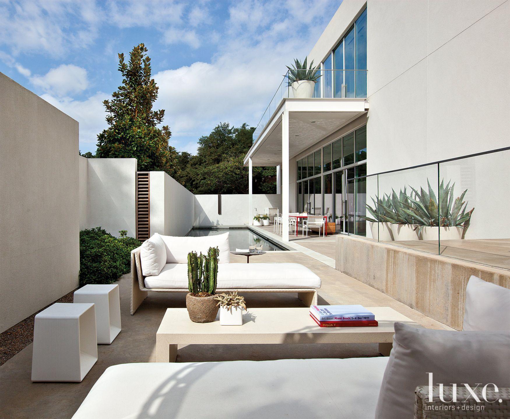 Neutral Modern Slim Courtyard with Pool