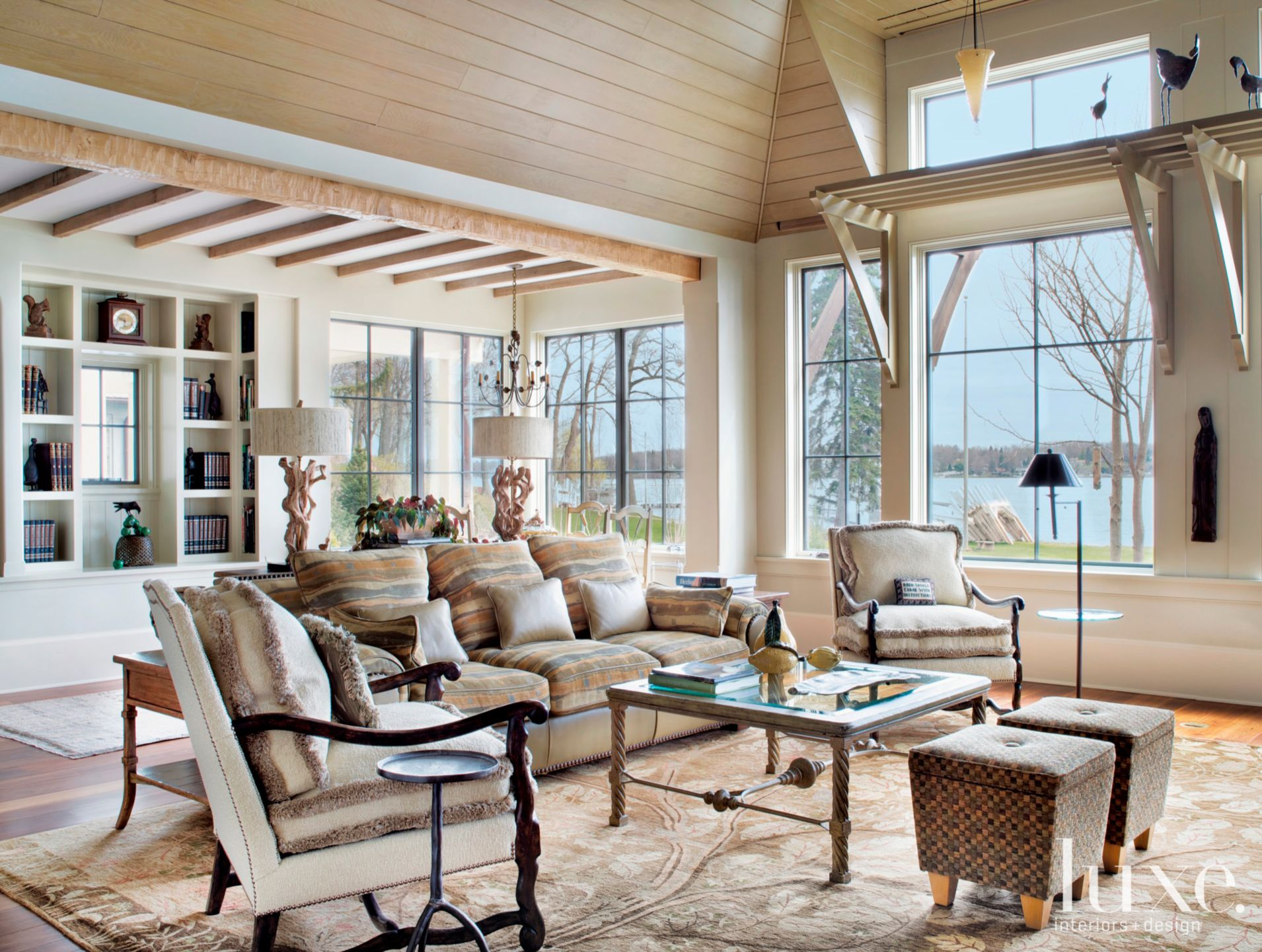 Contemporary Neutral Family Room with Striped Sofa