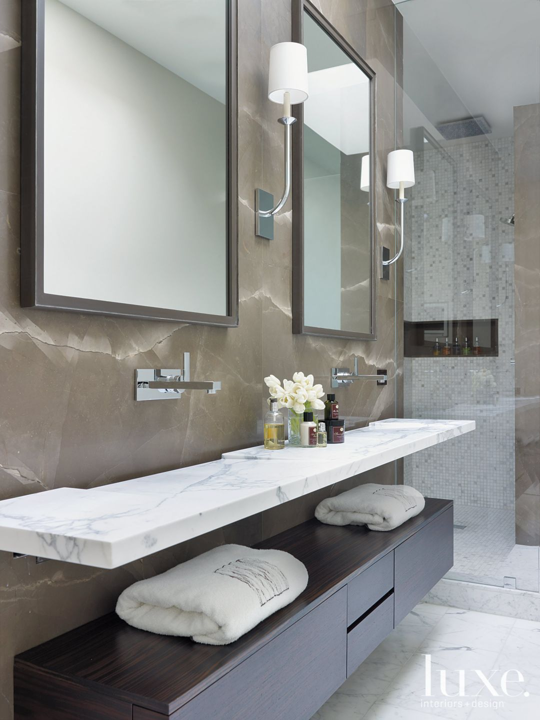 Contemporary White Bathroom with Floating Cabinetry