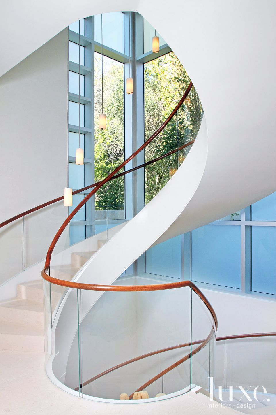 Modern White Staircase with Glass Railings