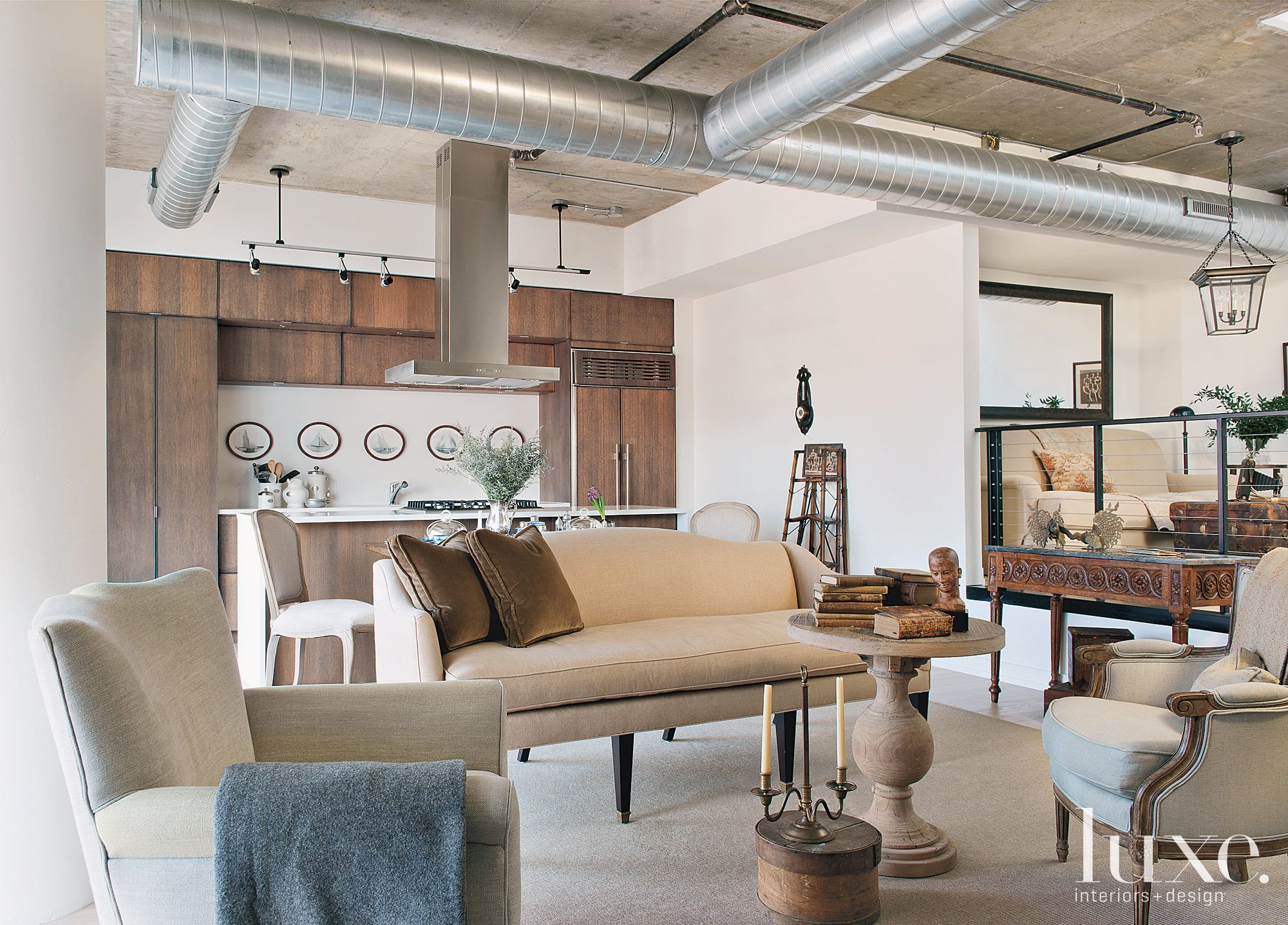 Eclectic Neutral Living Room with Open Plan