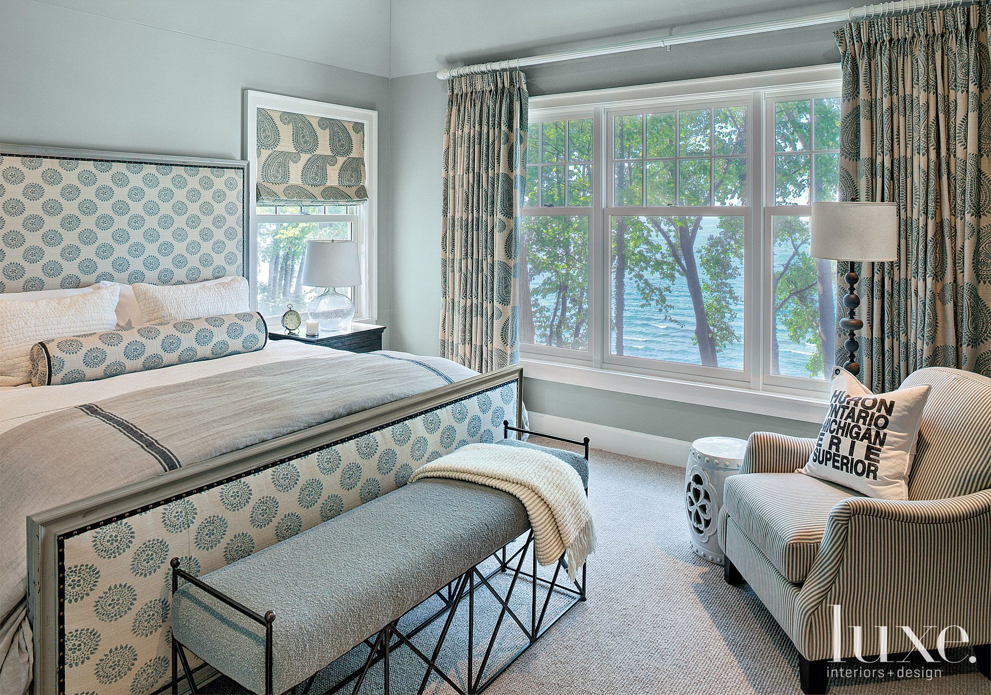 Contemporary Silver Bedroom with Lake Views