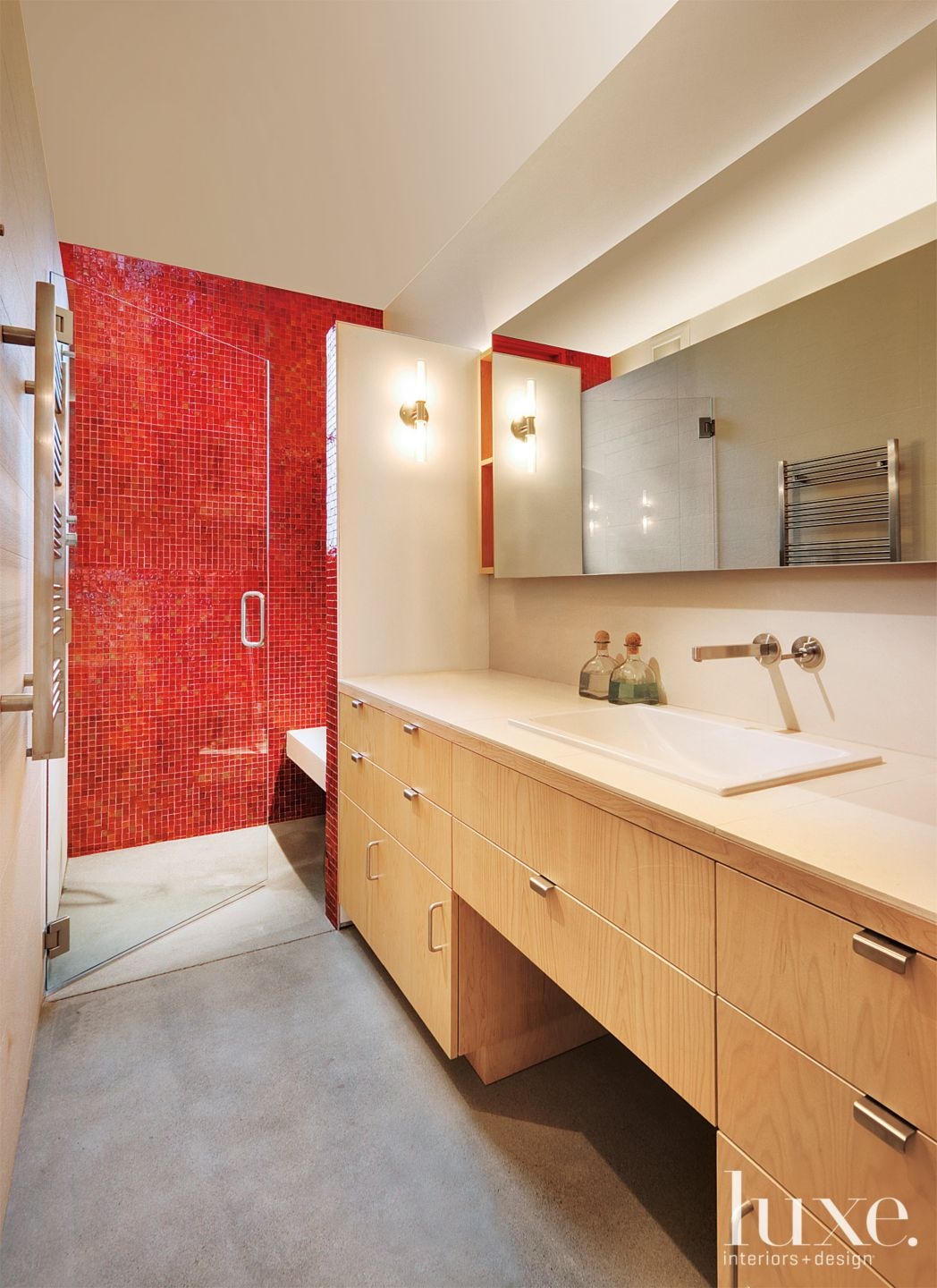 Contemporary Master Bathroom with Red Tiled Shower