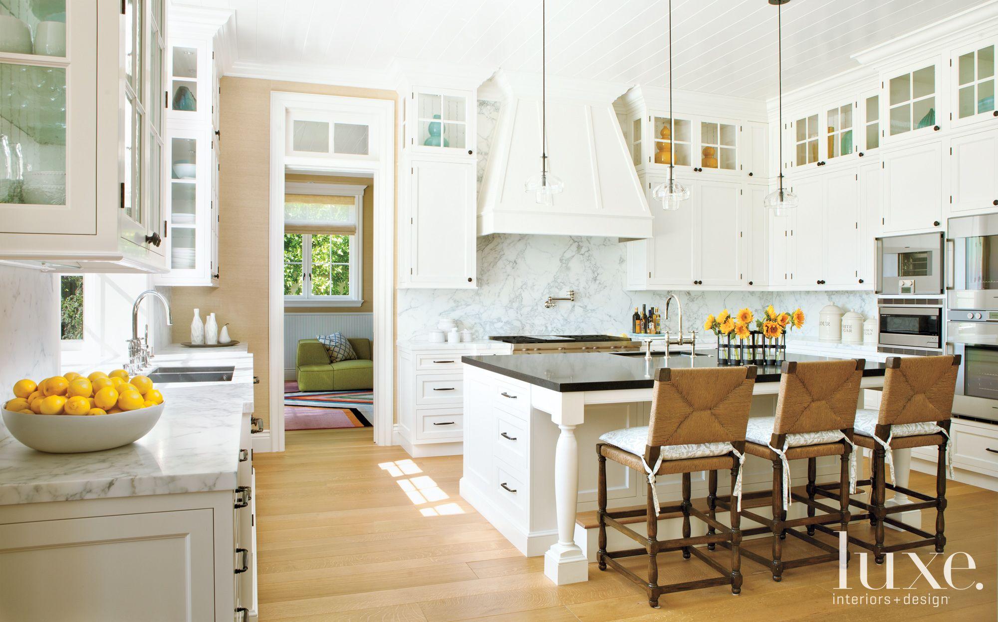 Transitional White Kitchen with Marble Backsplash