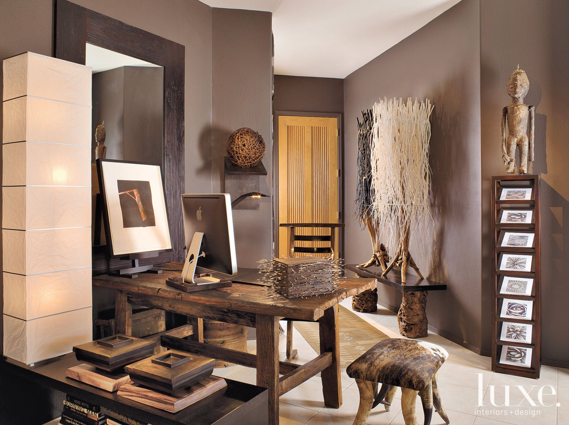 Eclectic Brown Studio with Twig-Like Sculptures