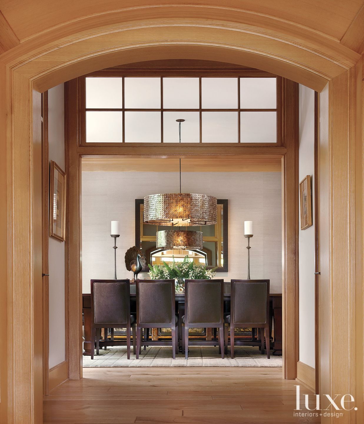 Traditional Neutral Dining Room with Barrel Light Fixture