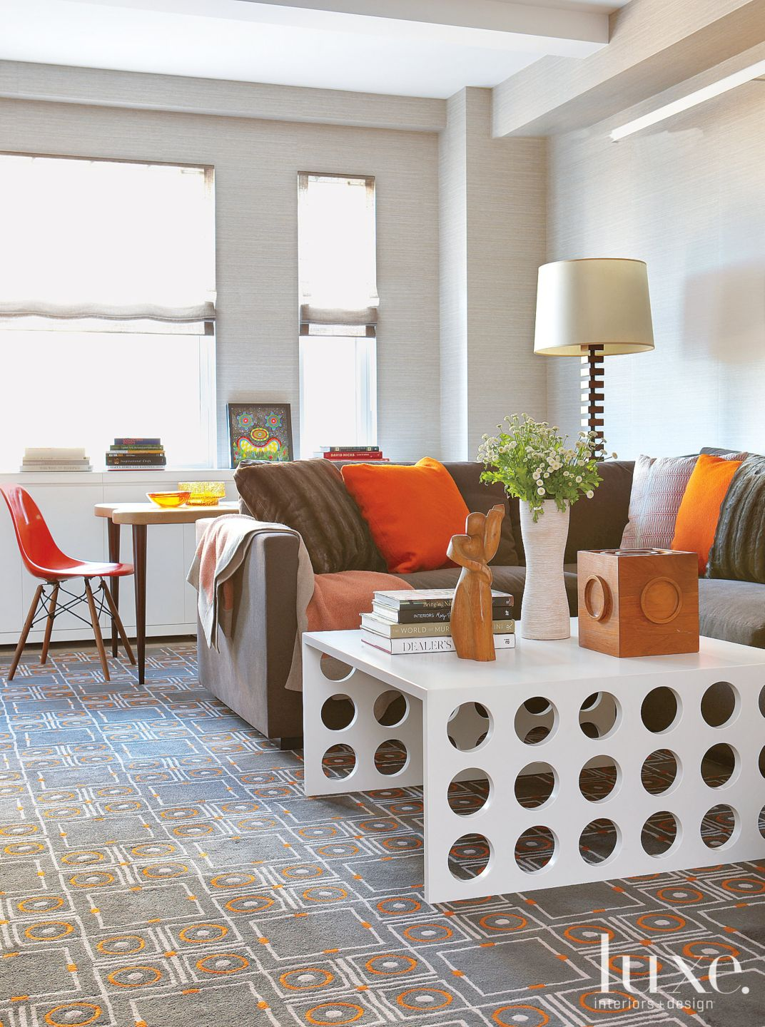 Modern Orange-Accented Family Room