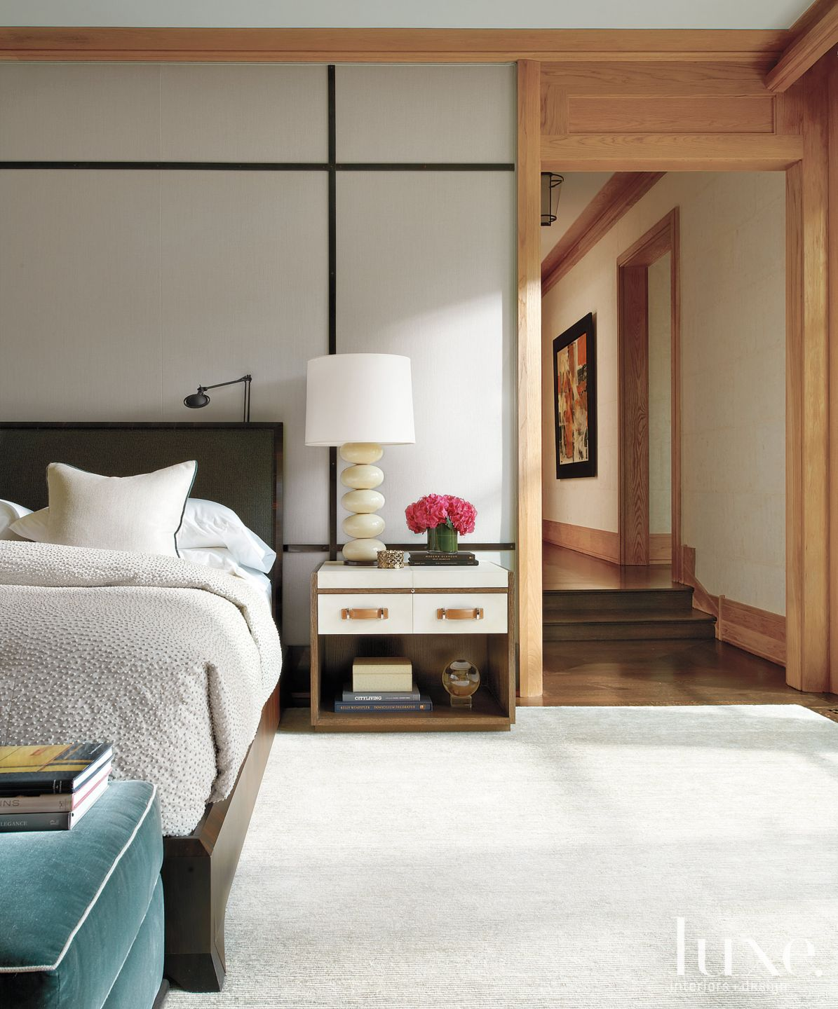 Transitional White Bedroom with Linen-Upholstered Walls