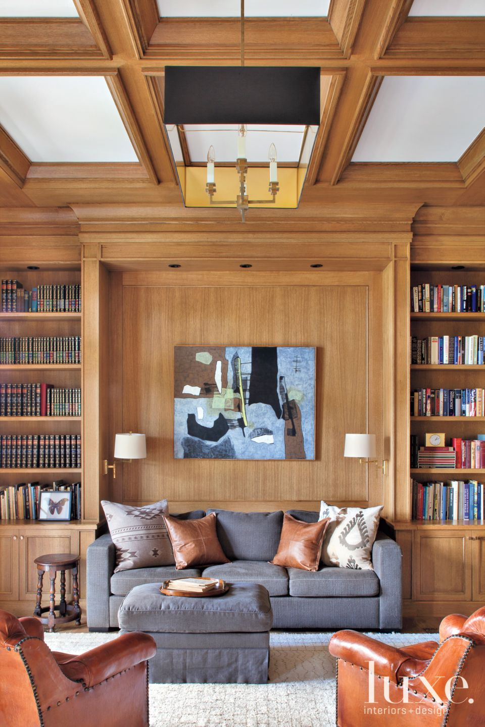 Wood Paneled Transitional Library