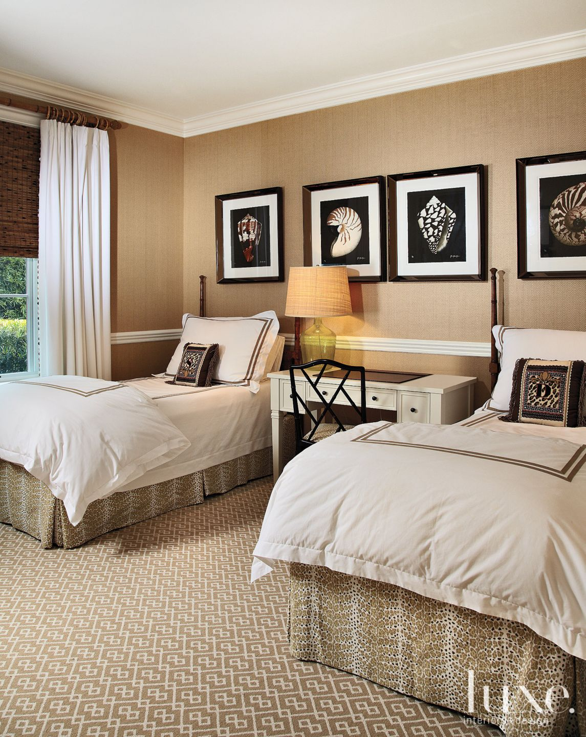 Neutral Guest Bedroom With Graphic Carpeting Luxe Interiors Design