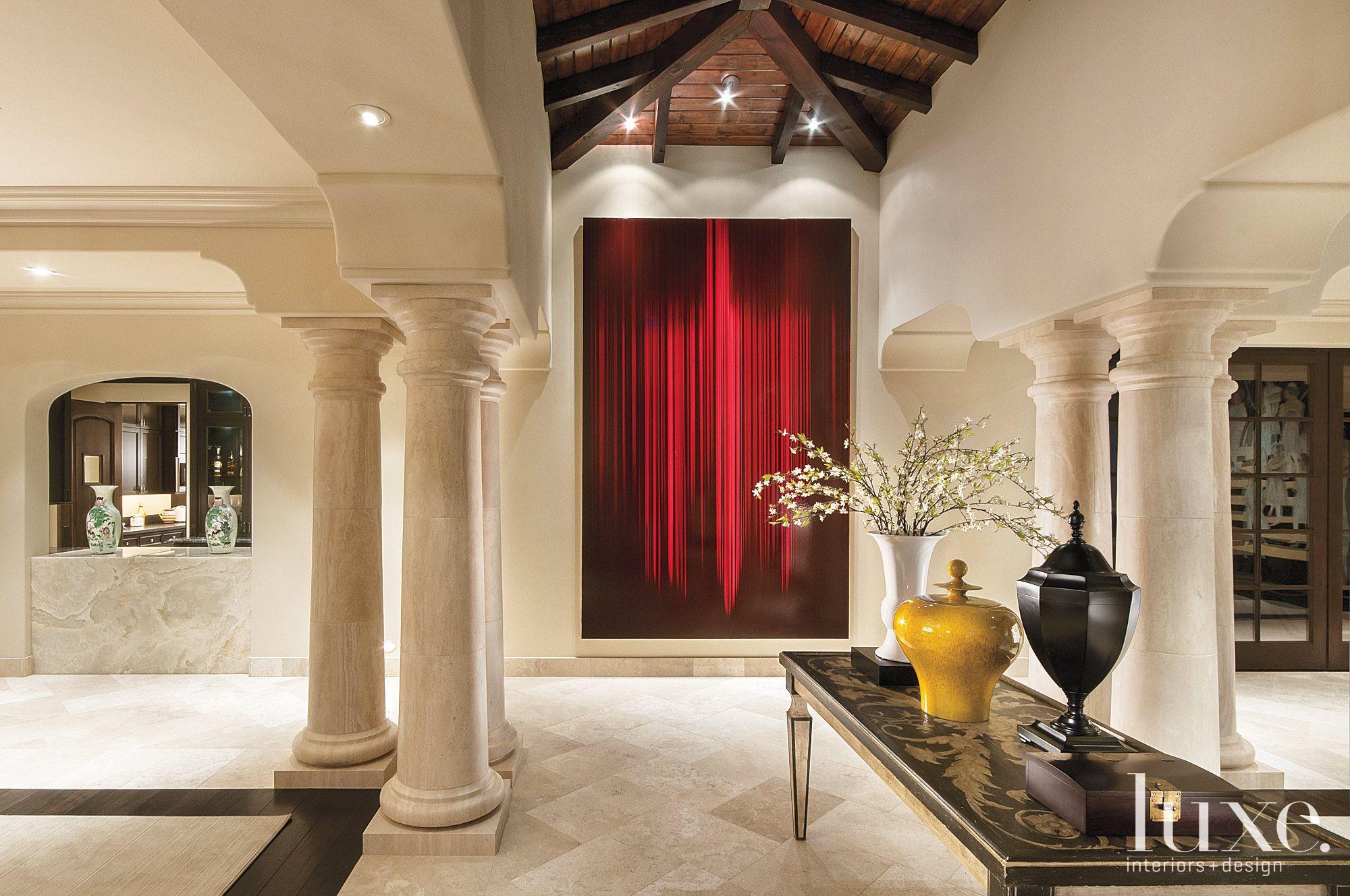 Mediterranean Cream Foyer with Columns