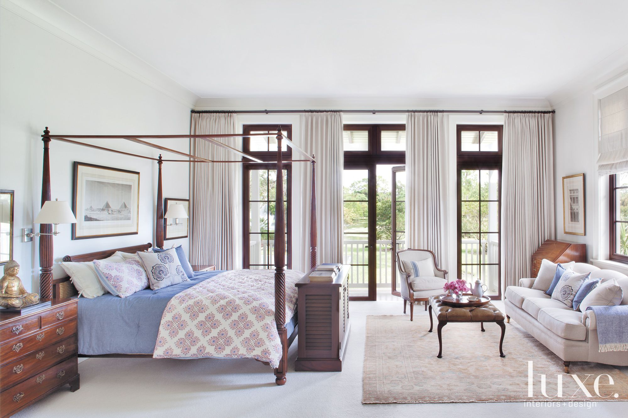 White Traditional Master Bedroom with Four-Poster Bed