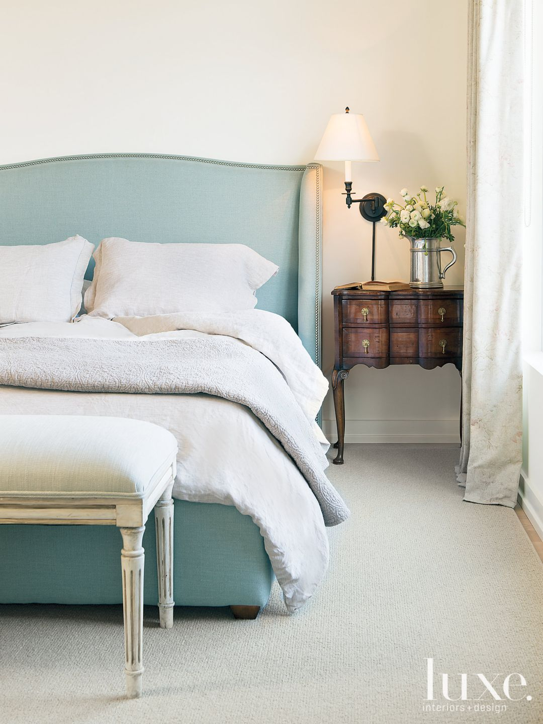 Transitional White Bedroom with a Seafoam Green Linen Bed