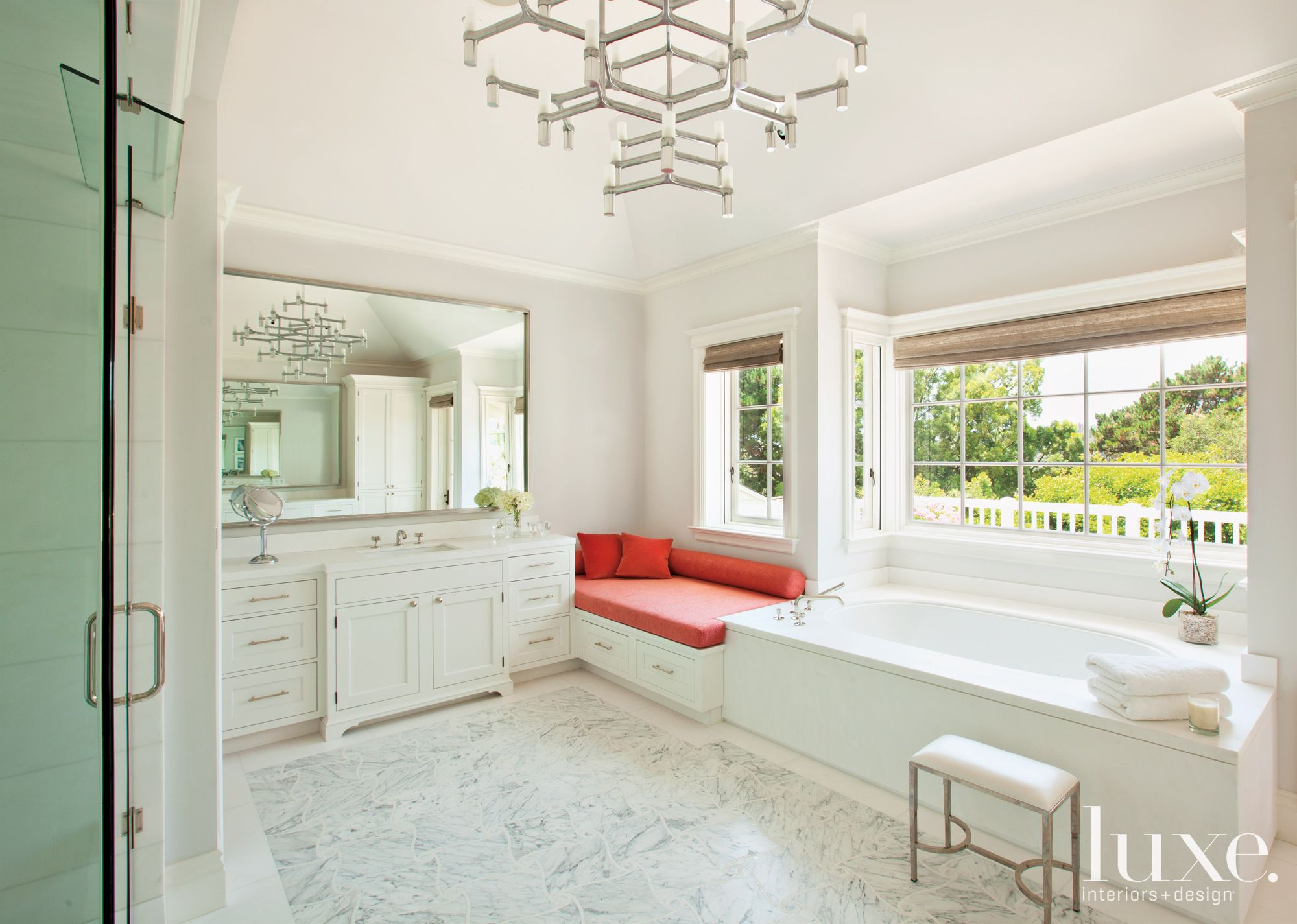 Transitional White Bathroom with Window Seat