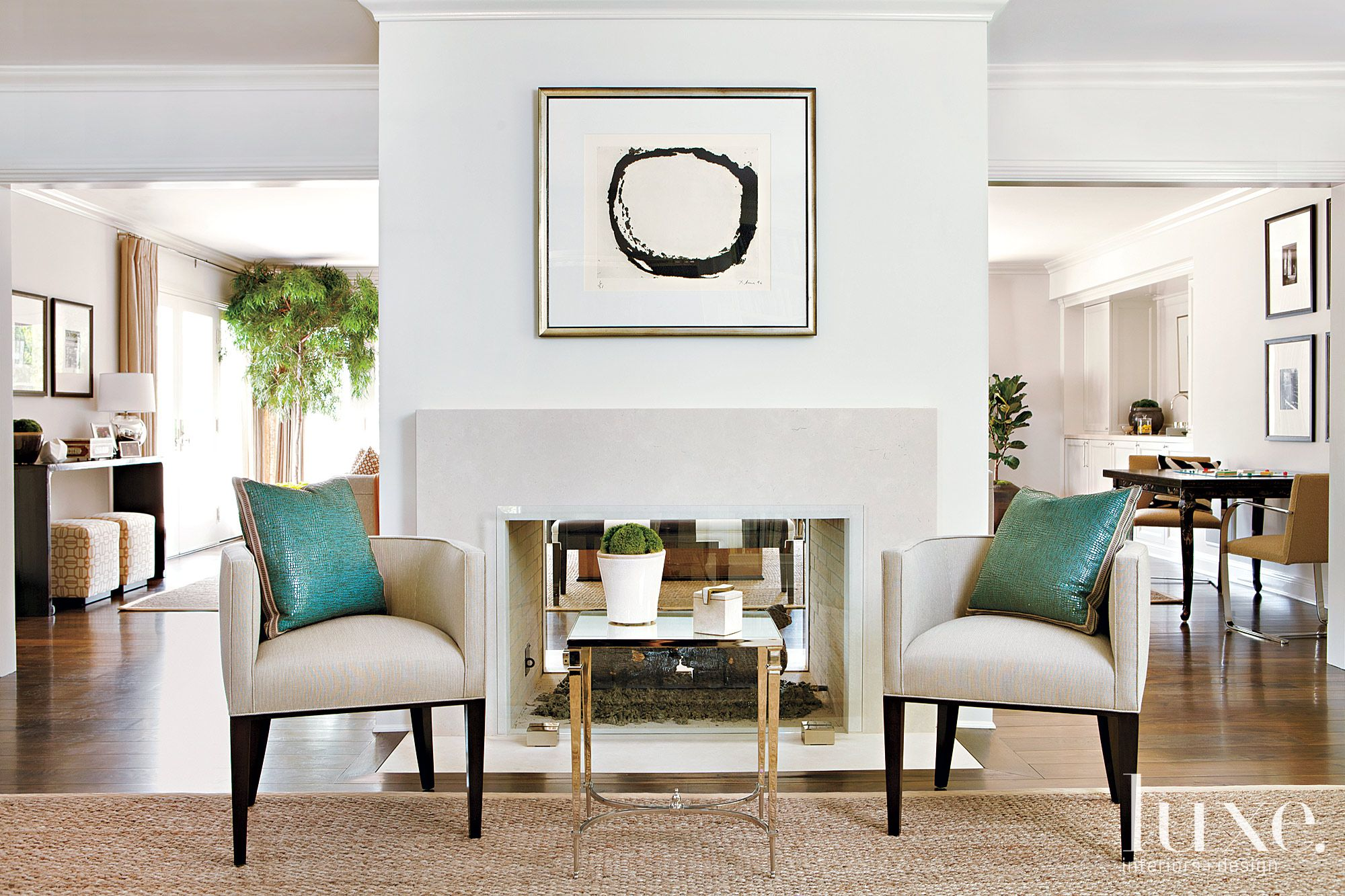 Blue accent living room
