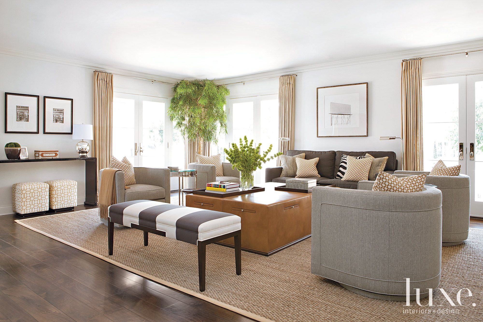 Contemporary White Living Room with Leather Coffee Table