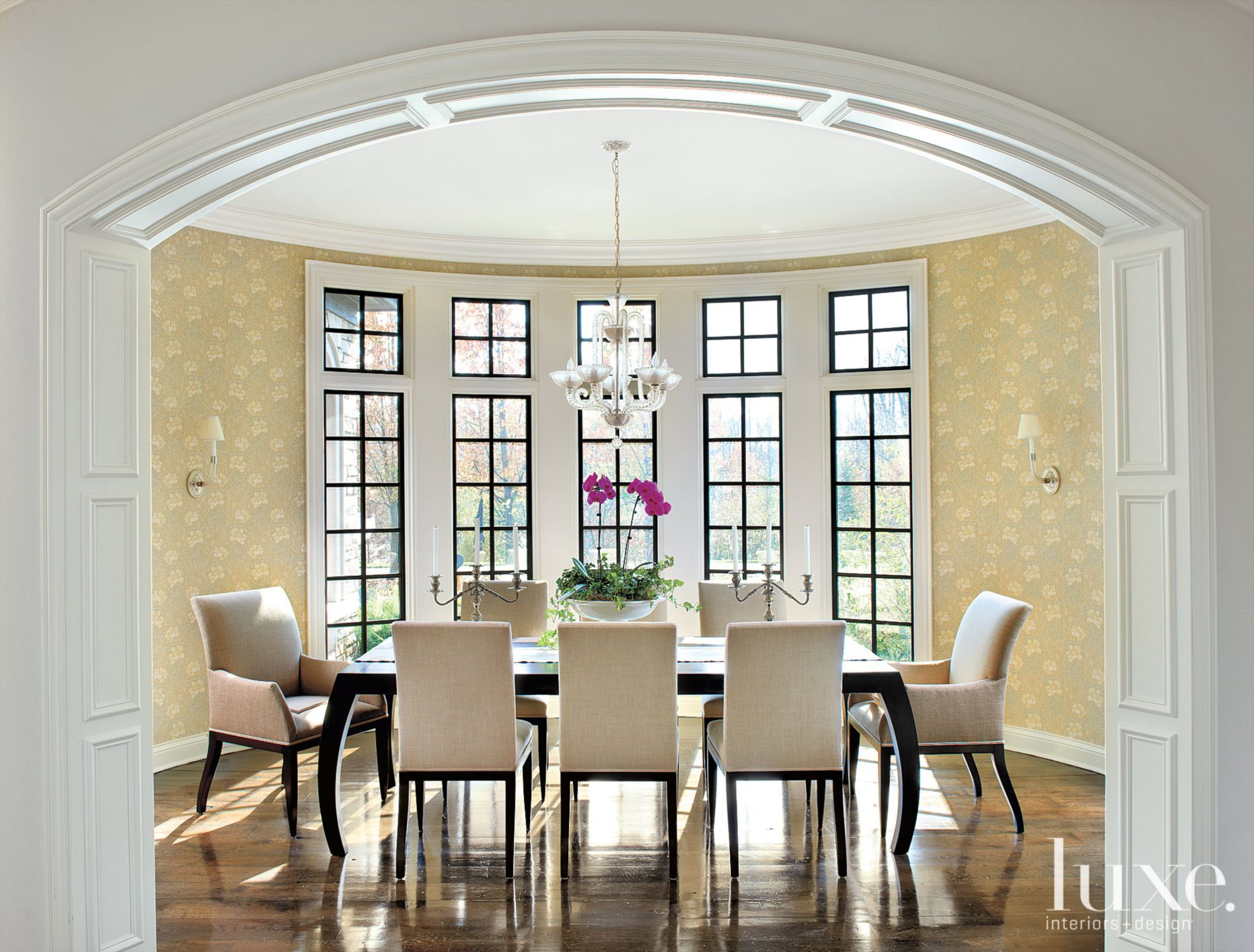 Traditional Gold Dining Room with Floral Wallcovering