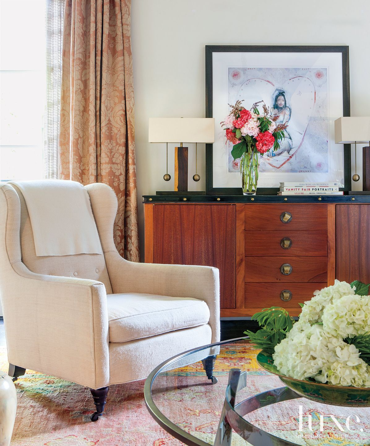 Eclectic White Living Room Wing Chair