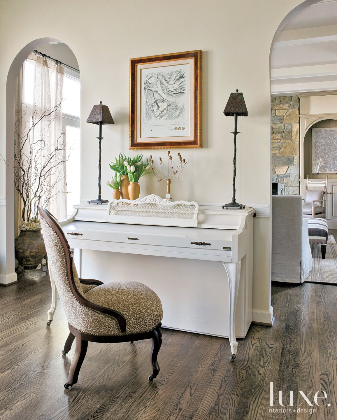 Transitional Cream Living Room Piano