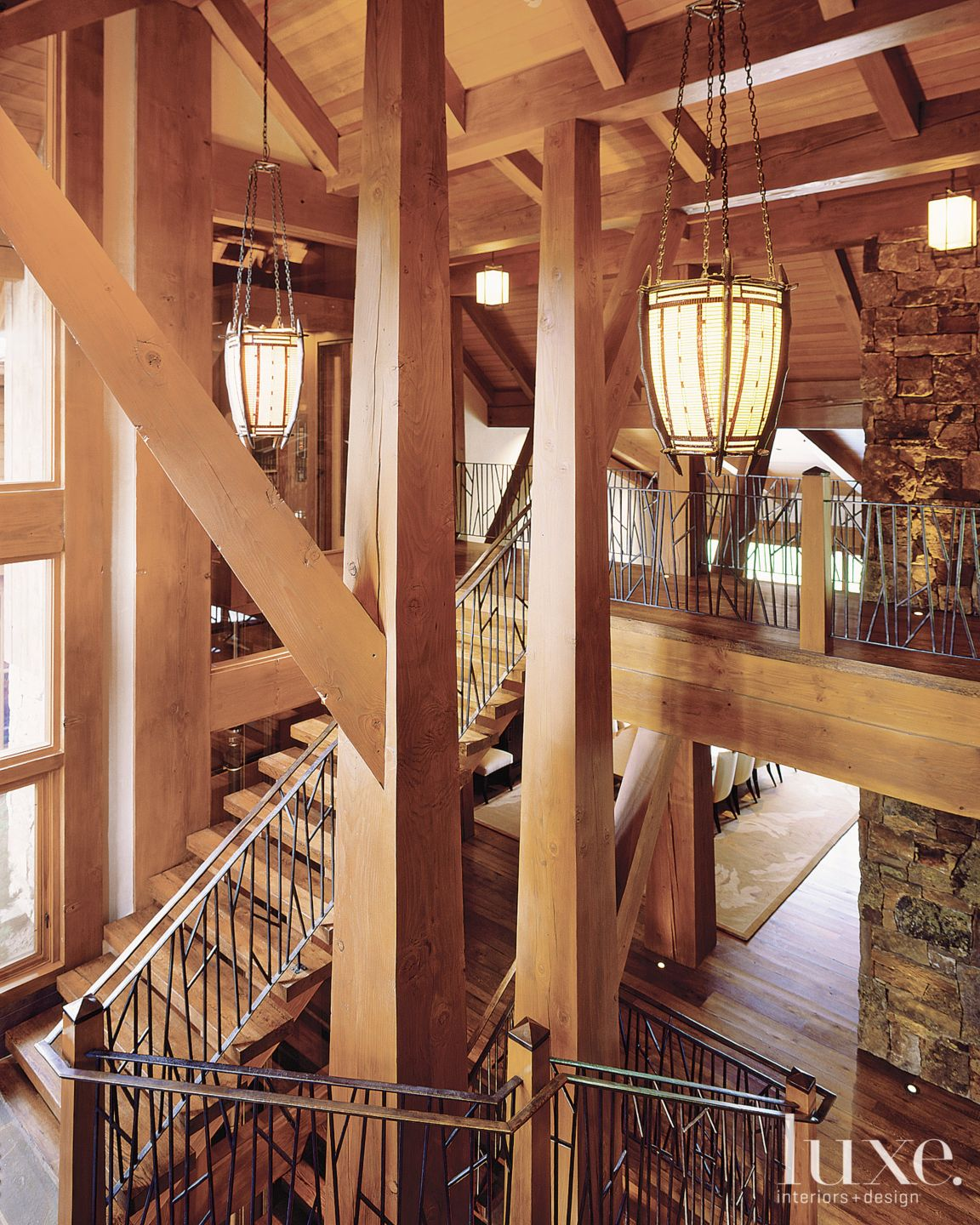 Mountain Neutral Staircase with Bronze Handrails