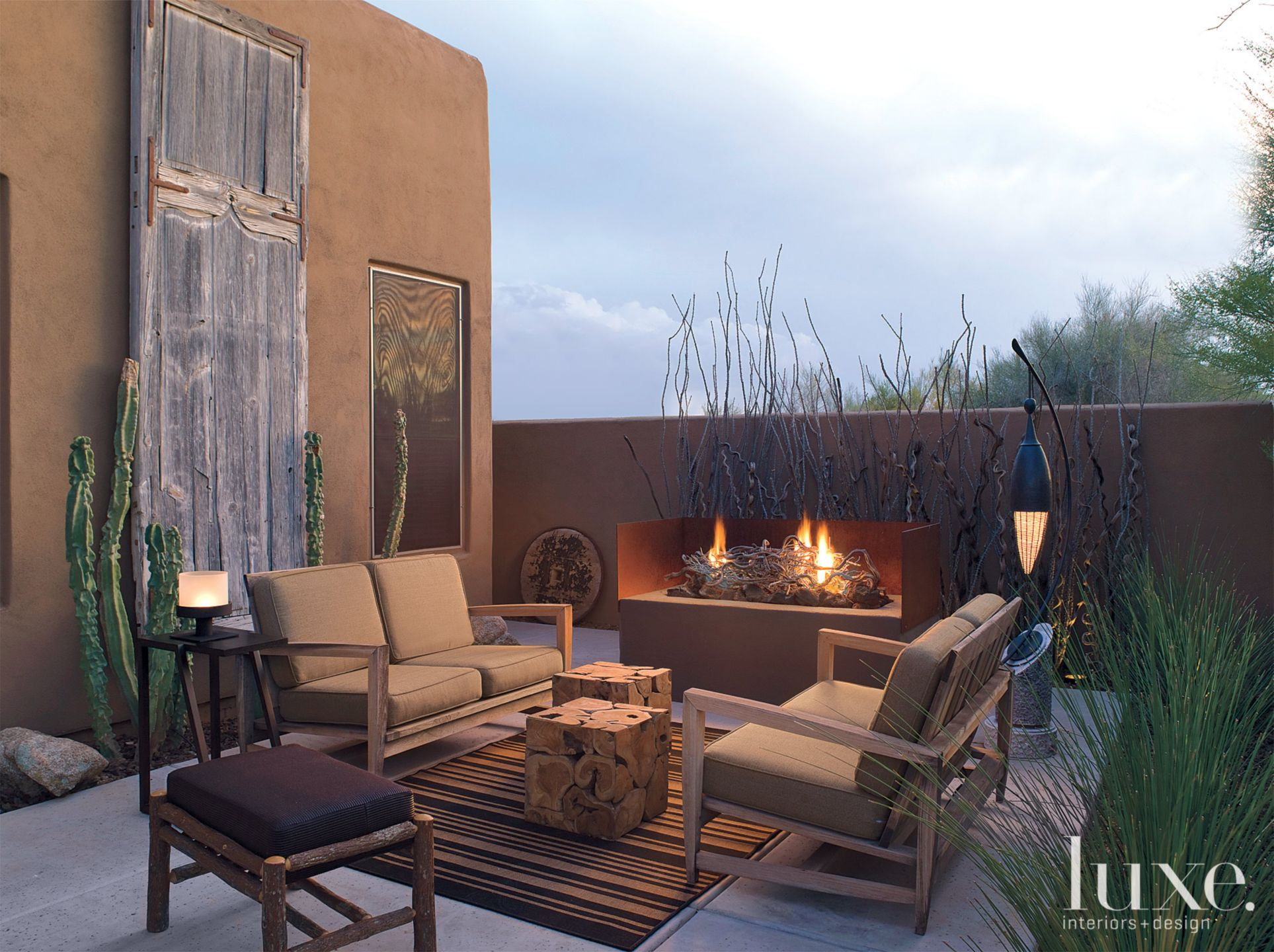 Eclectic Brown Patio with Mesquite Door