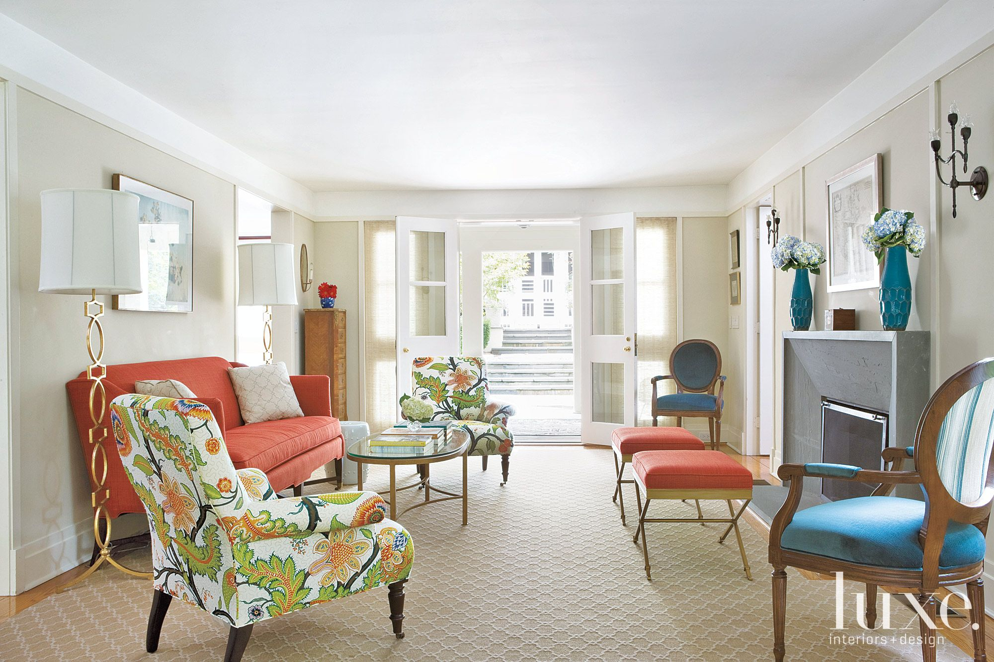 Transitional Cream Living Room with Multicolored Accents
