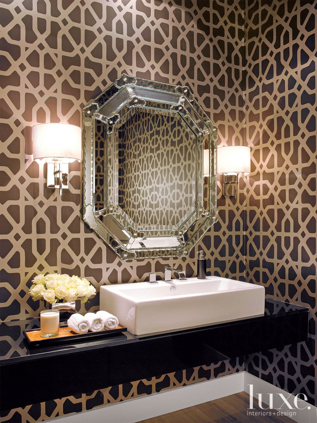 Transitional Brown Powder Room