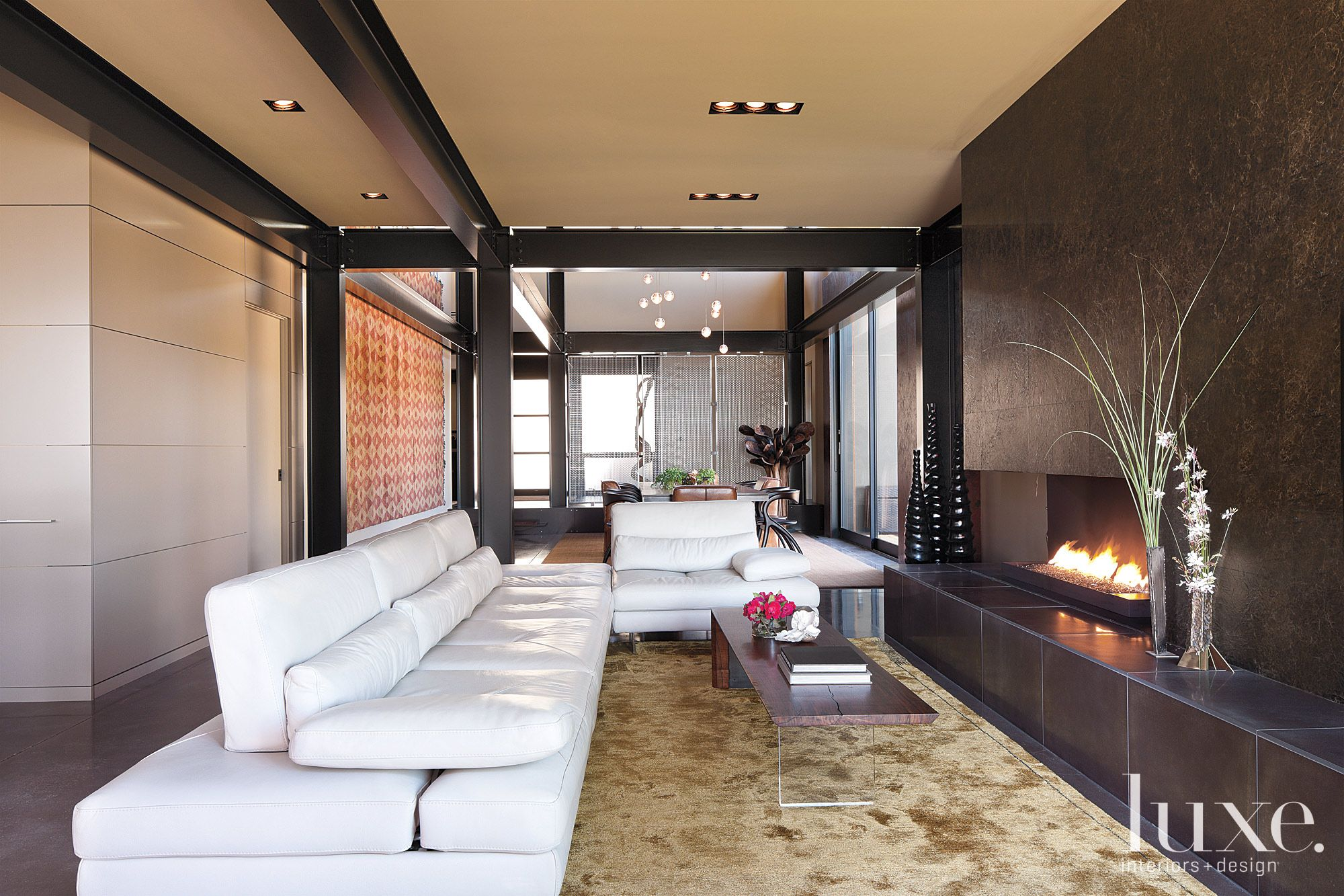 Modern Neutral Living Room with Linear Fireplace