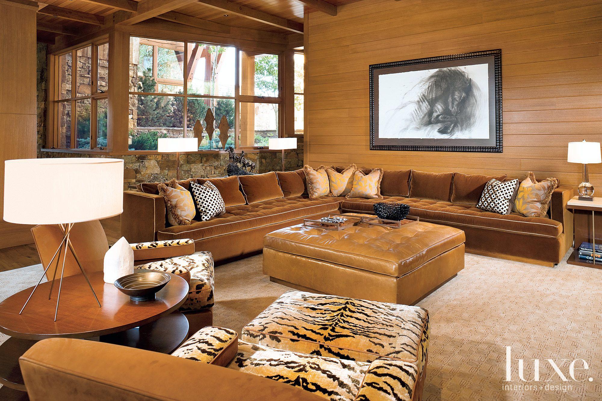 Mountain Brown Family Room with Tiger-Print Chair