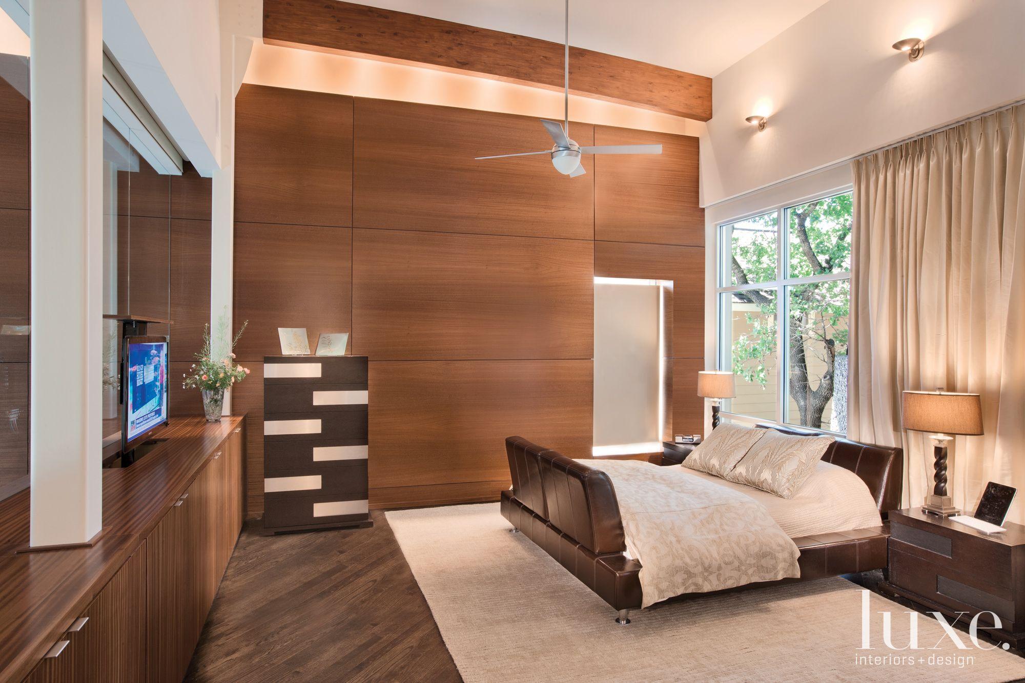 Modern Wood Paneled Master Bedroom