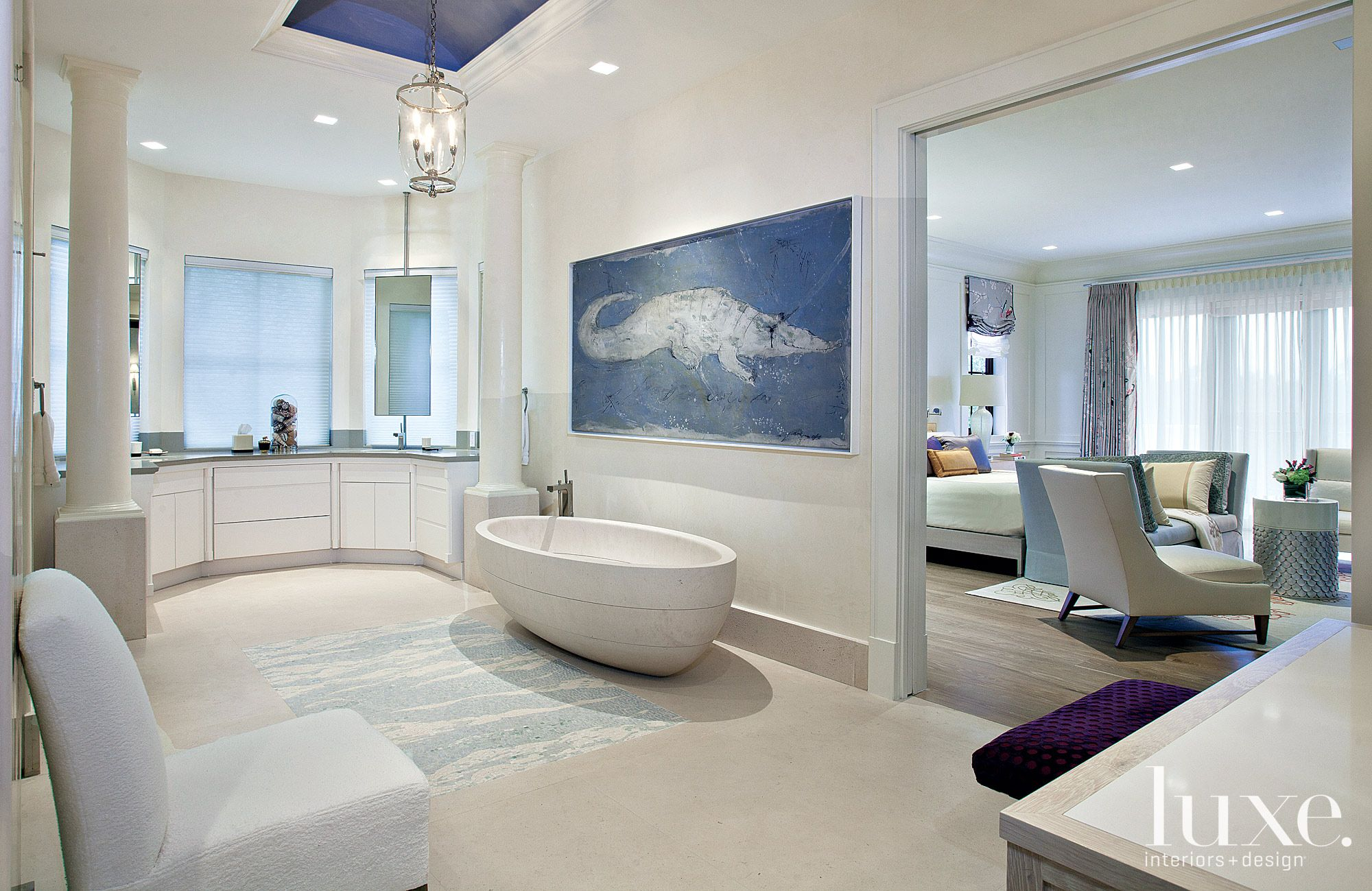 Transitional Blue-Accented Master Bath