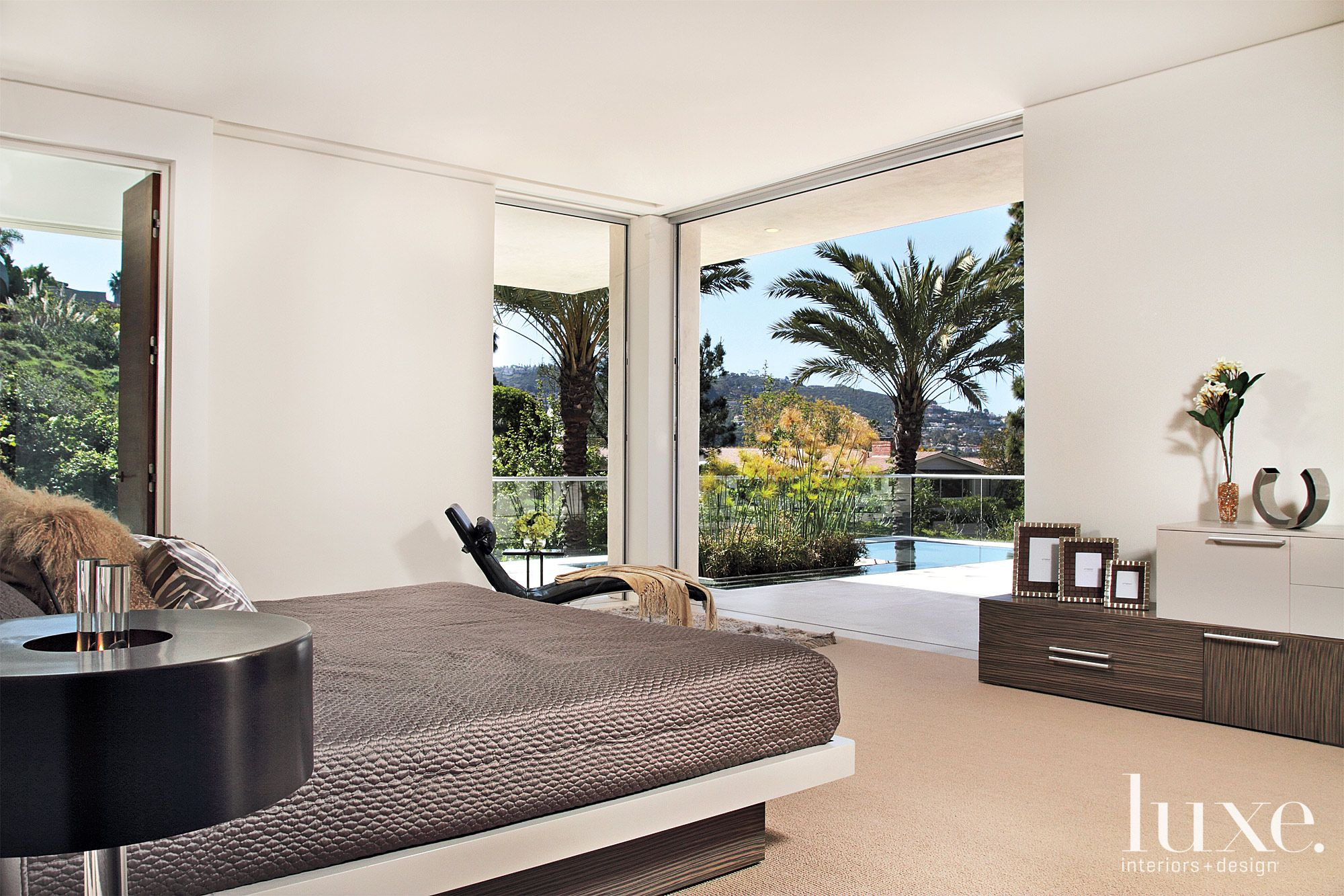 Modern White Bedroom with Expansive Views