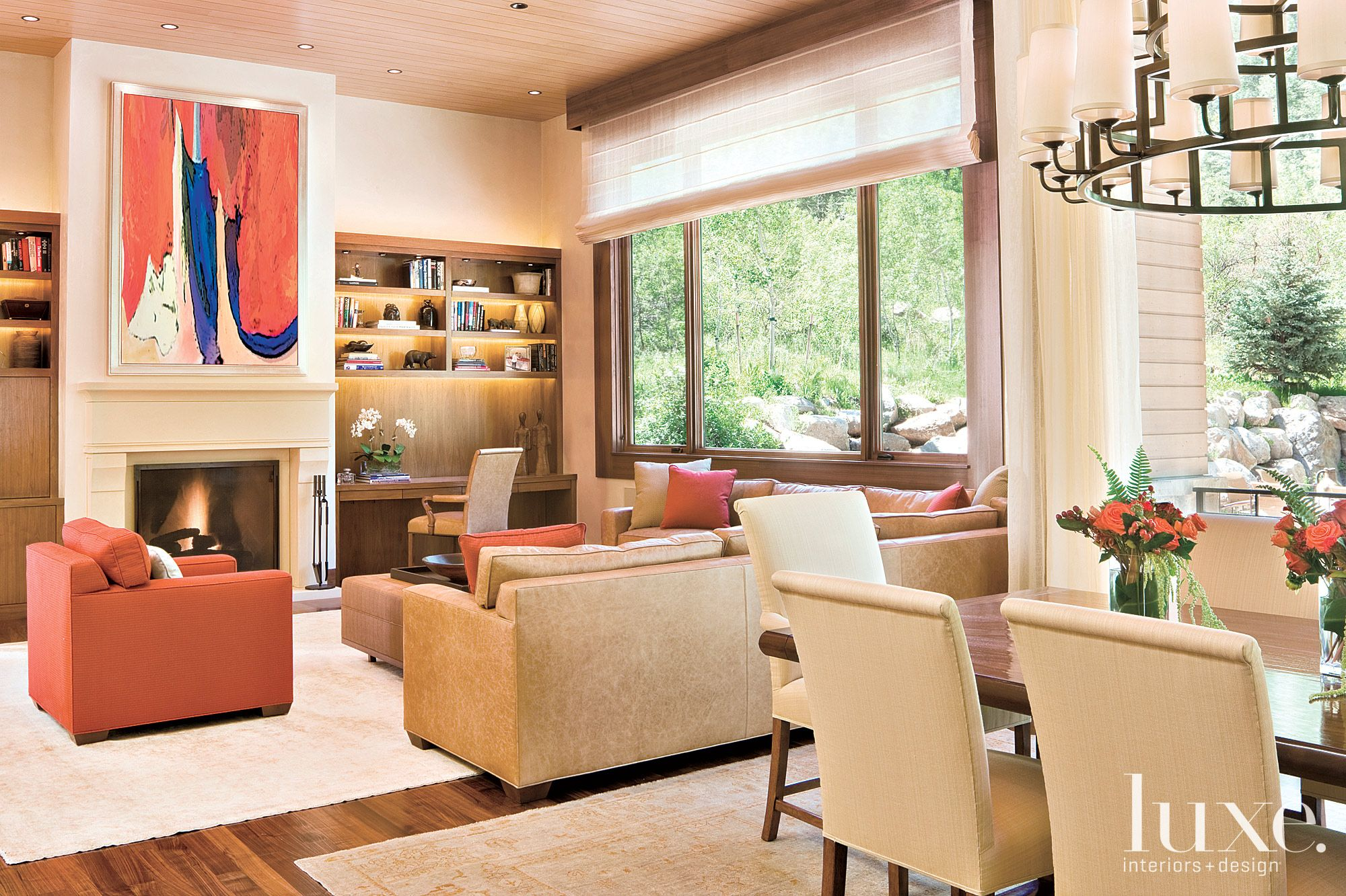 Contemporary Neutral Family Room with Burnt Orange Accents