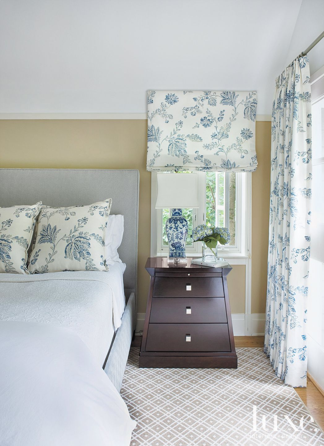 Transitional White Bedroom with Floral Fabric