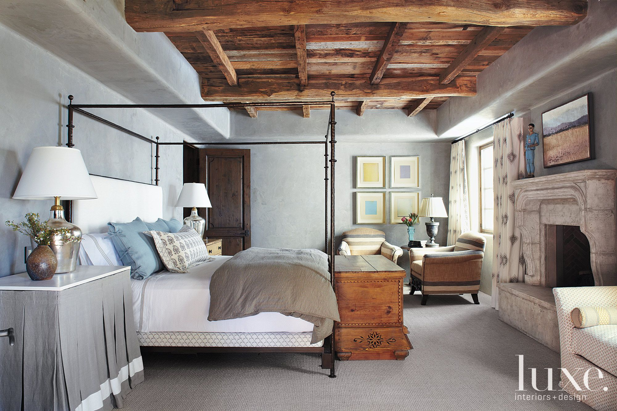 Eclectic Gray Bedroom with Frescoed Walls