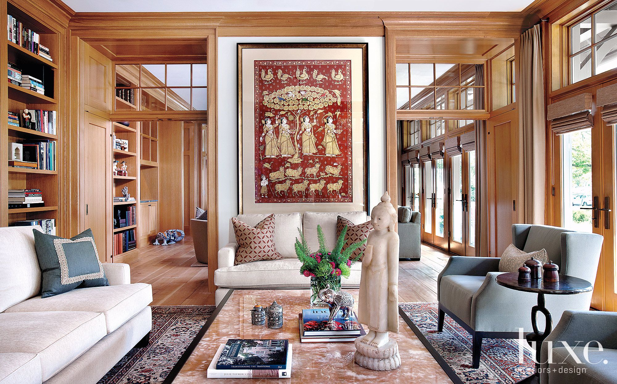 Traditional Neutral Living Room with Persian Carpet
