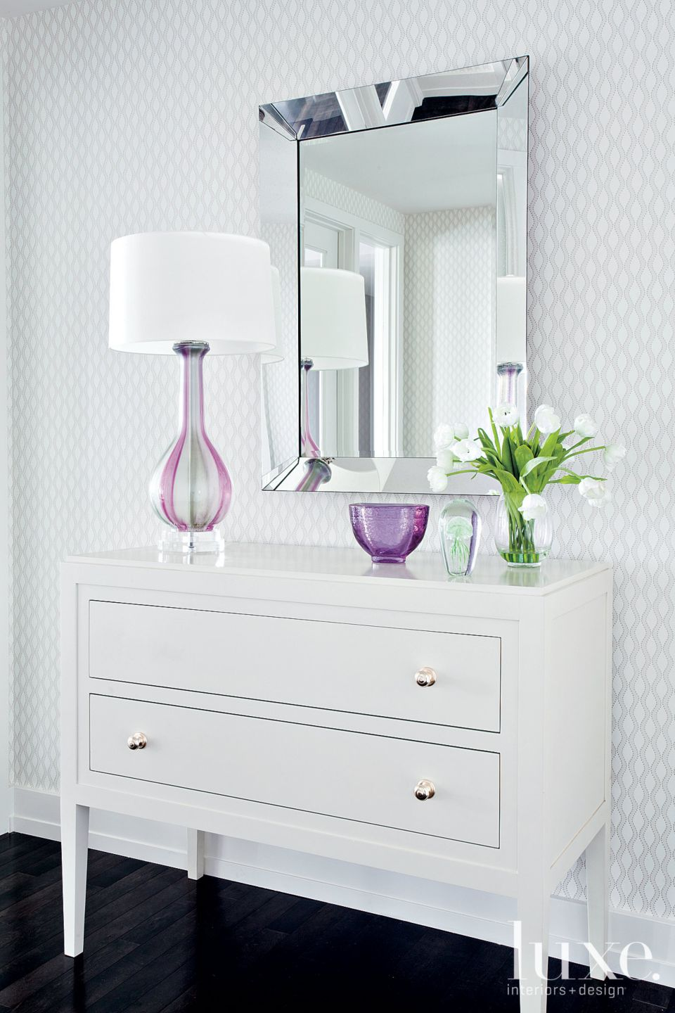 Contemporary White Entry Hall Vignette with White Chest