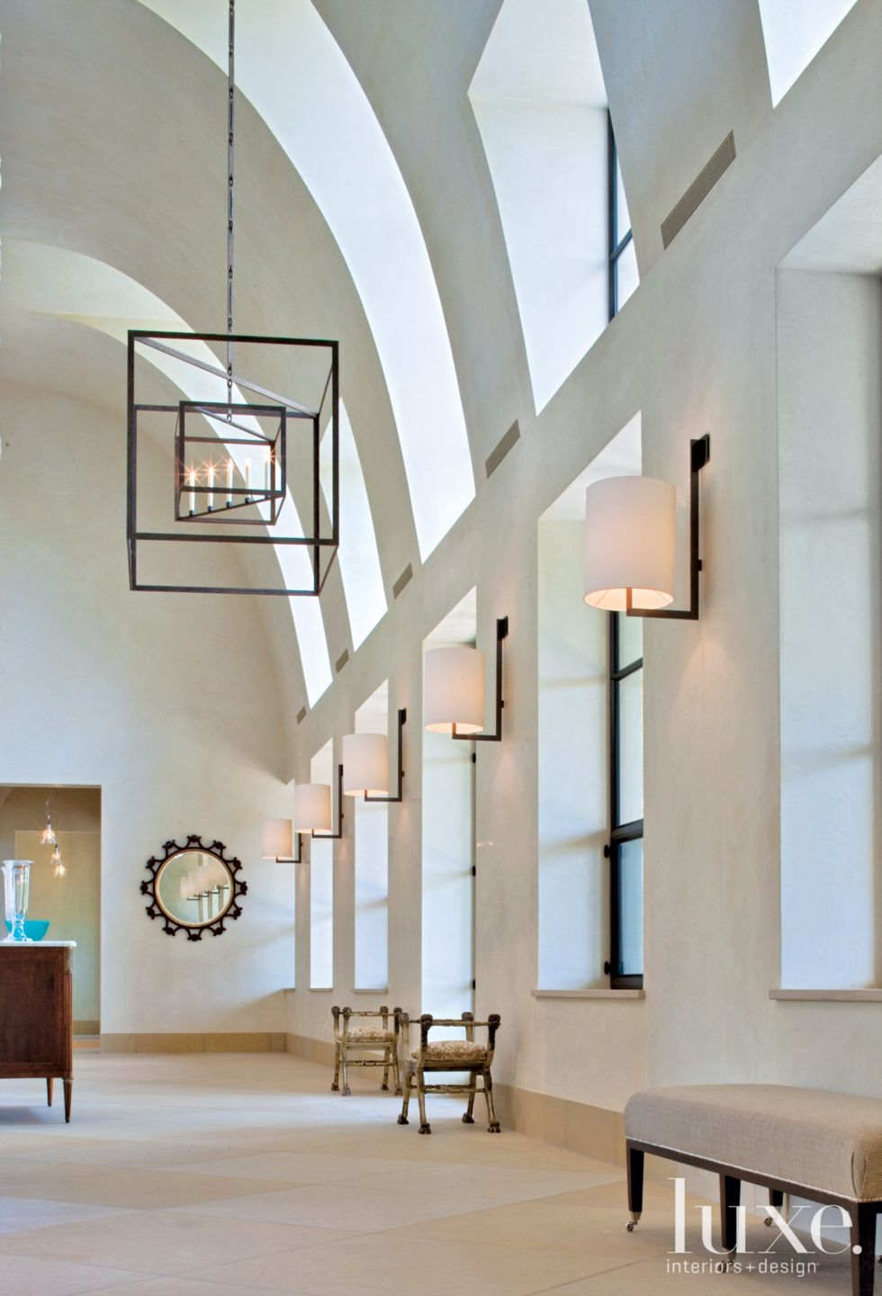 Country White Foyer with Dormer-Style Windows