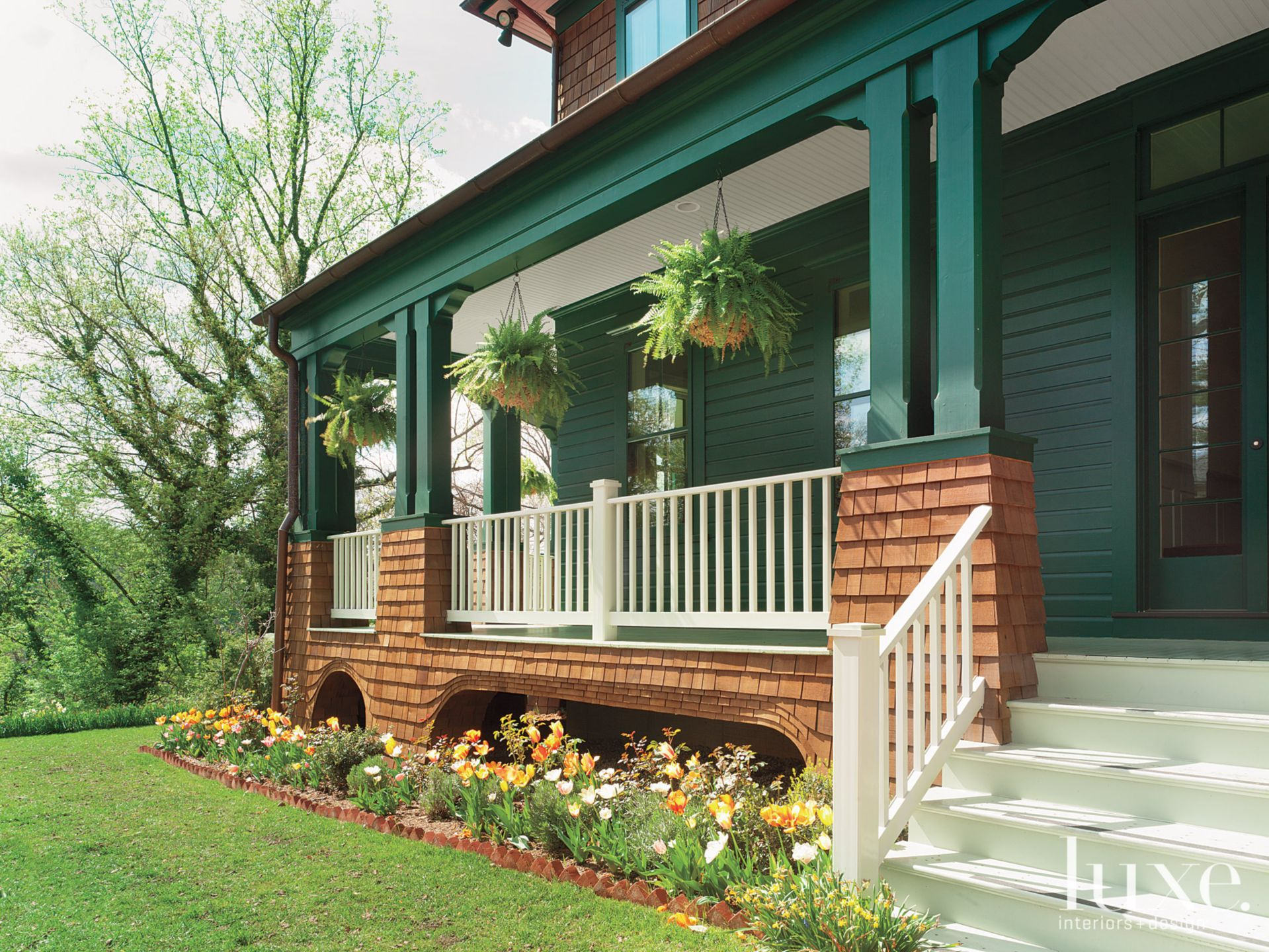 Country Green Front Porch with Landscape Design