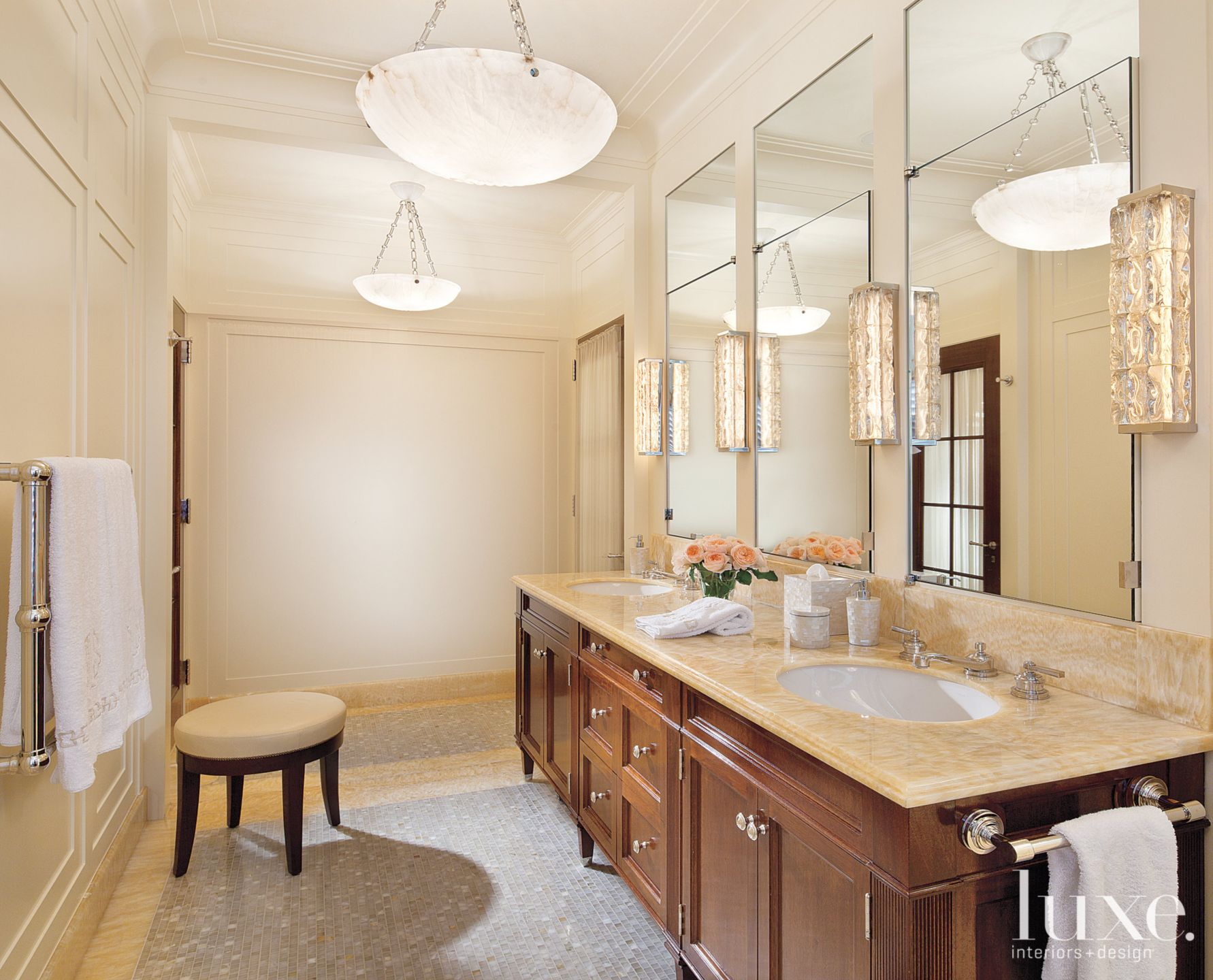Master Bathroom with Hand-Carved Chandeliers